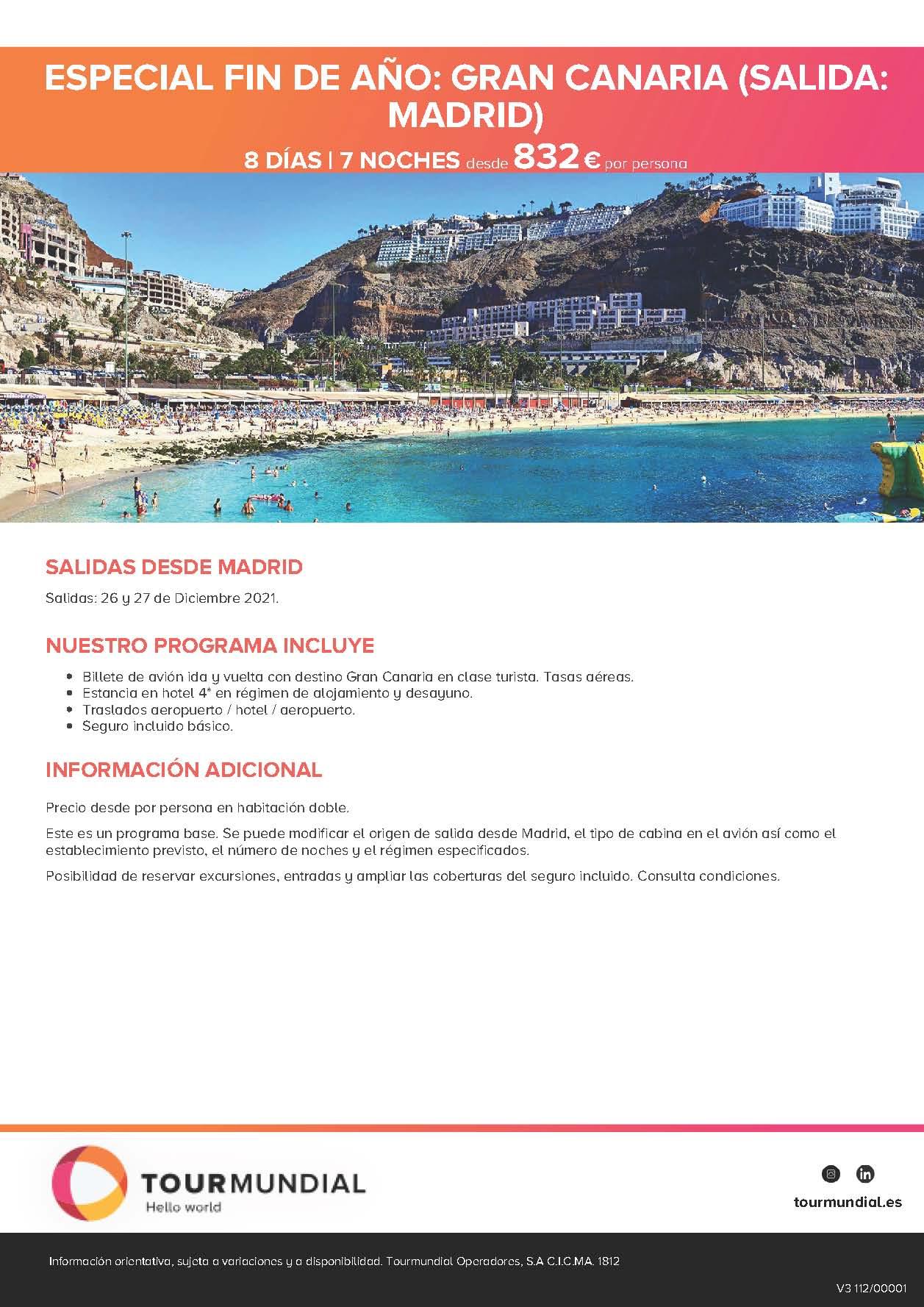 Oferta Tourmundial Fin de Año 2021 en Gran Canaria salidas 26 y 27 de diciembre desde Madrid