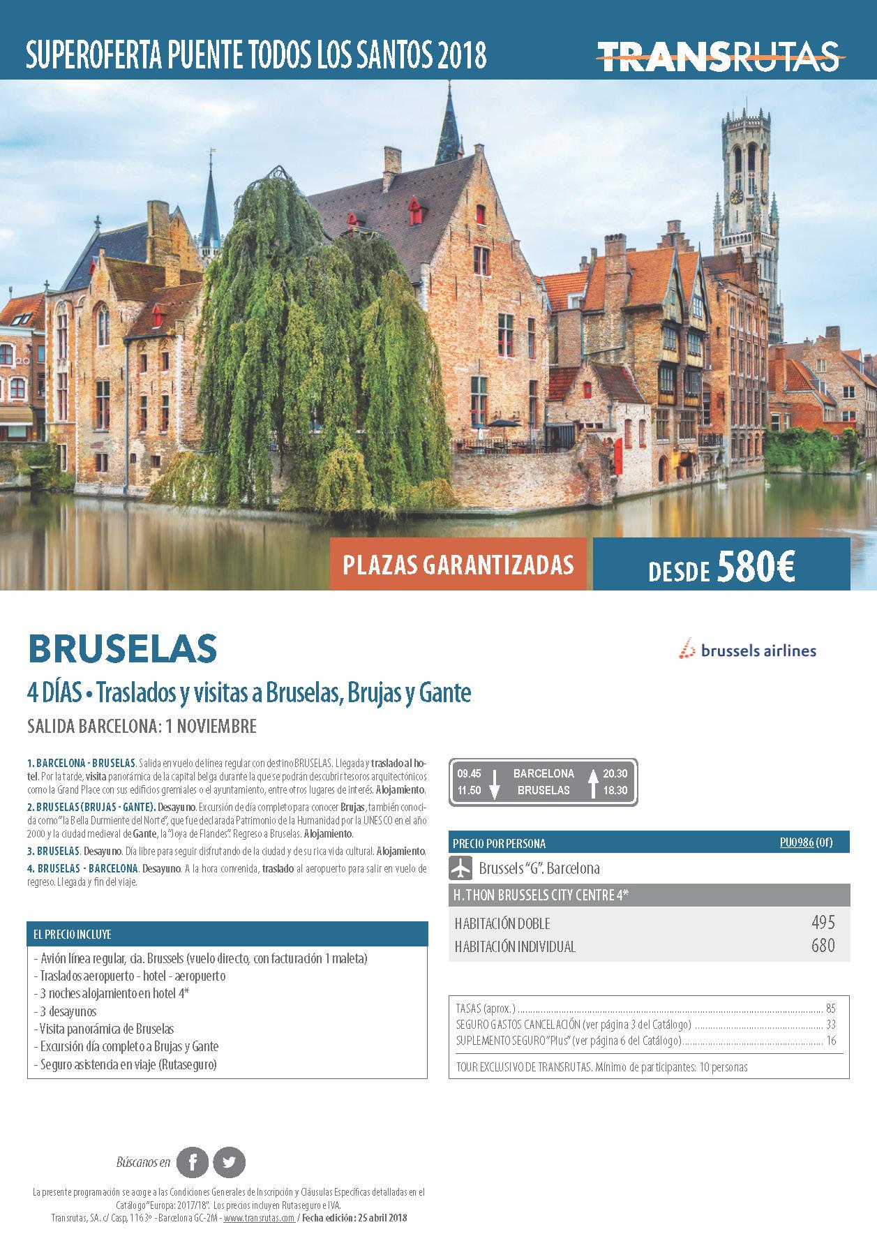 Oferta Transrutas Puente de Todos los Santos 2018 en Bruselas vuelo directo desde Barcelona