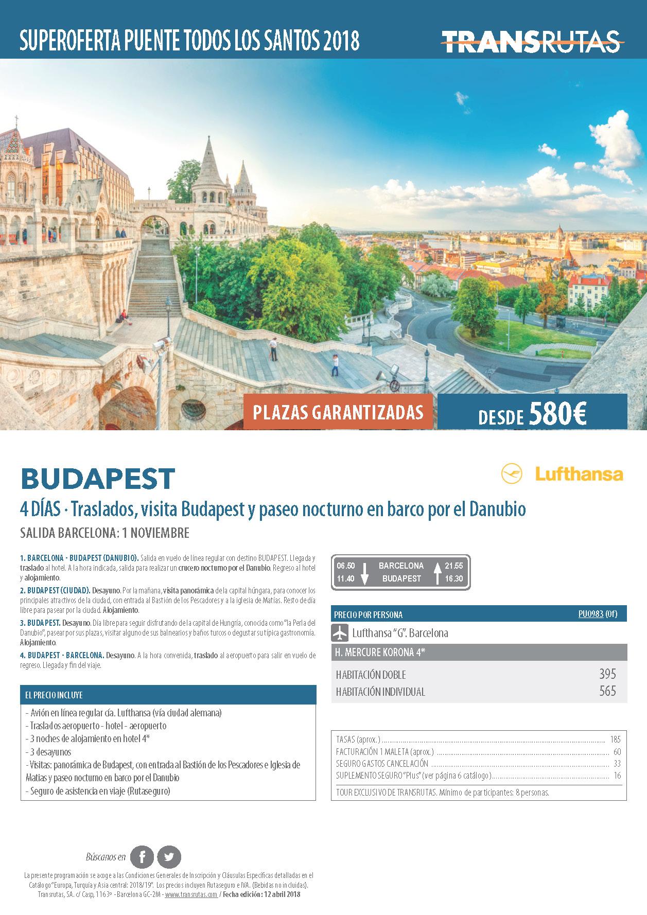 Oferta Transrutas Puente de Todos los Santos 2018 en Budapest vuelo directo desde Barcelona