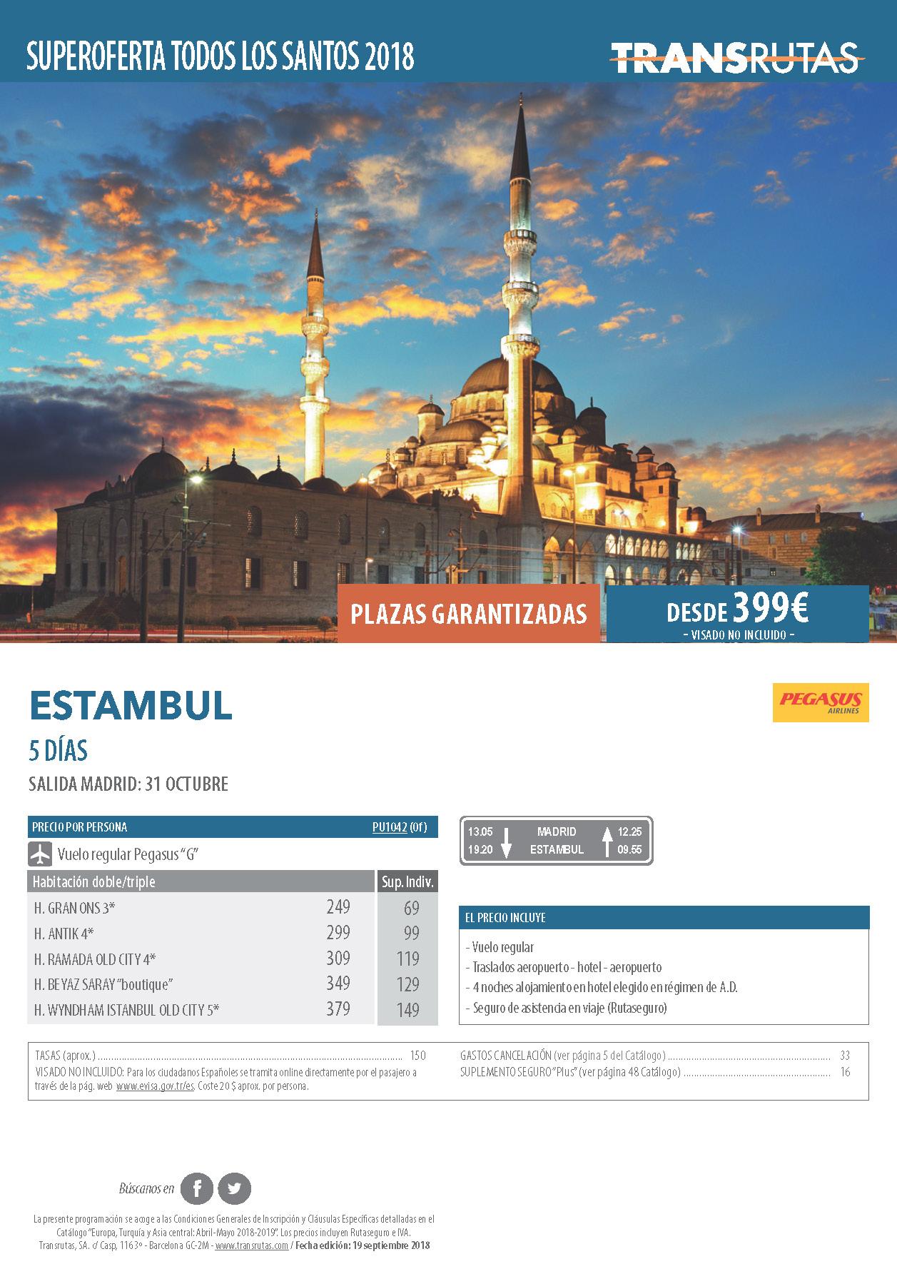 Oferta Transrutas Puente de Todos los Santos 2018 en Estambul vuelo directo desde Madrid
