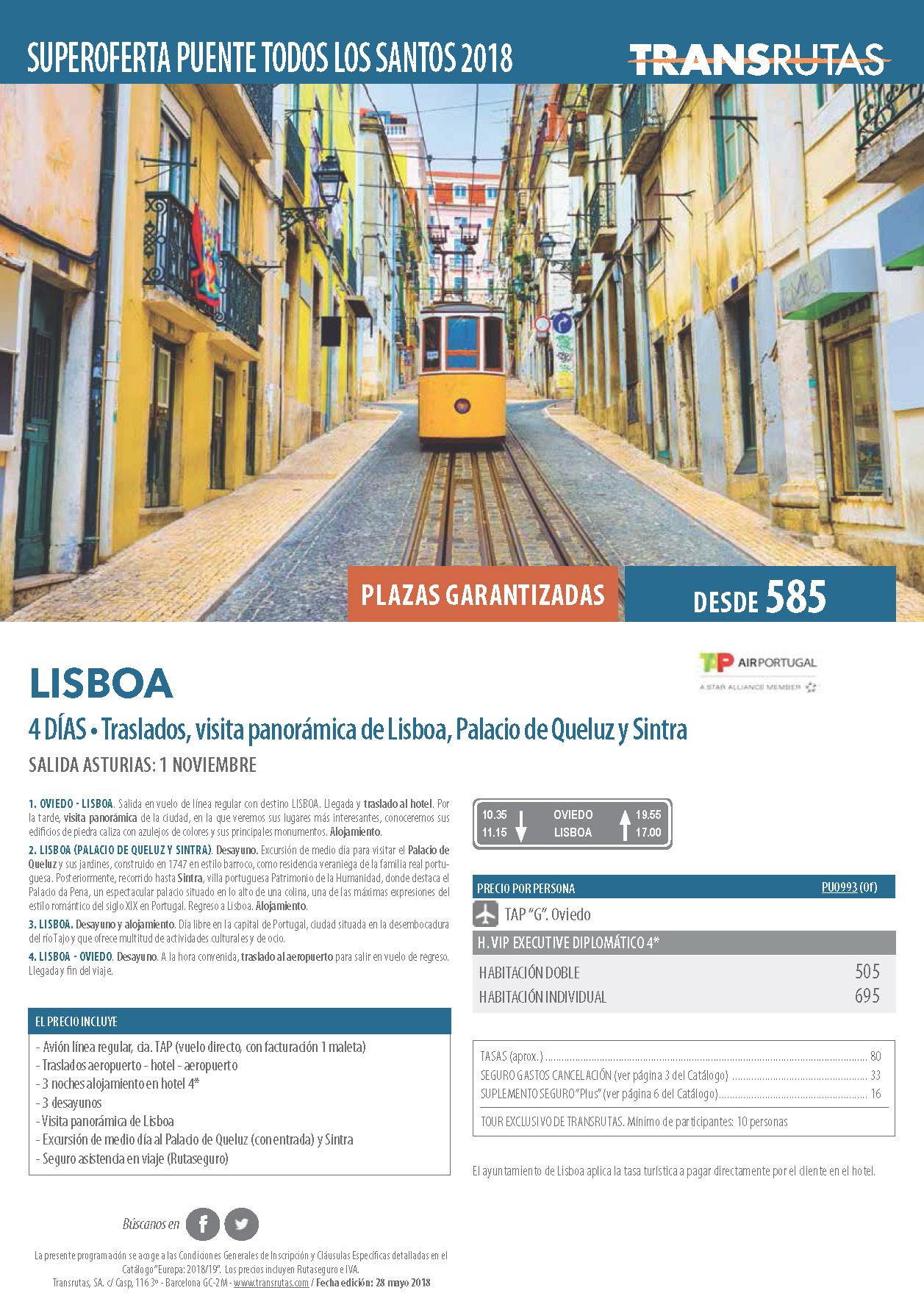 Oferta Transrutas Puente de Todos los Santos 2018 en Lisboa vuelo directo desde Asturias