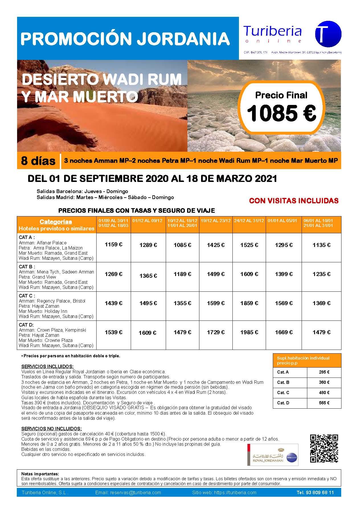 Oferta Turiberia Desierto de Wadi Rum y Mar Muerto 2021