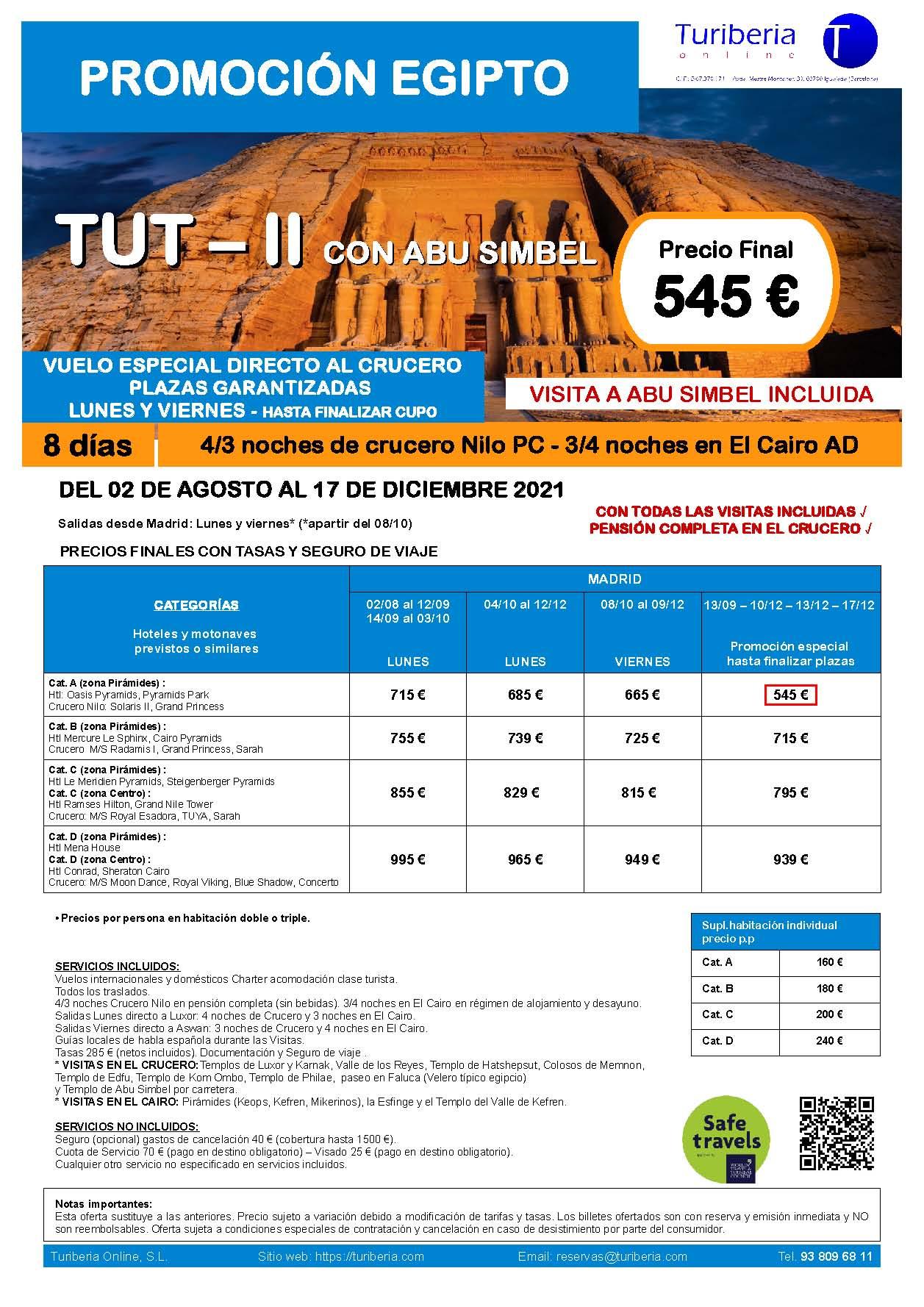 Oferta Turiberia Egipto Charter Básico con Abu Simbel 2021