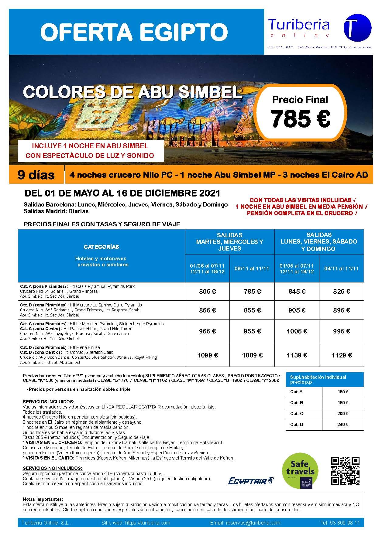 Oferta Turiberia Egipto Egiptair con Noche en Abu Simbel 2021