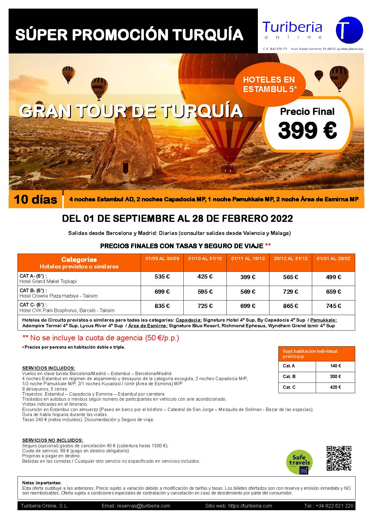 Oferta Turiberia Gran Tour de Turquía 2021 Circuito 10 dias con vuelos Turkish Airlines