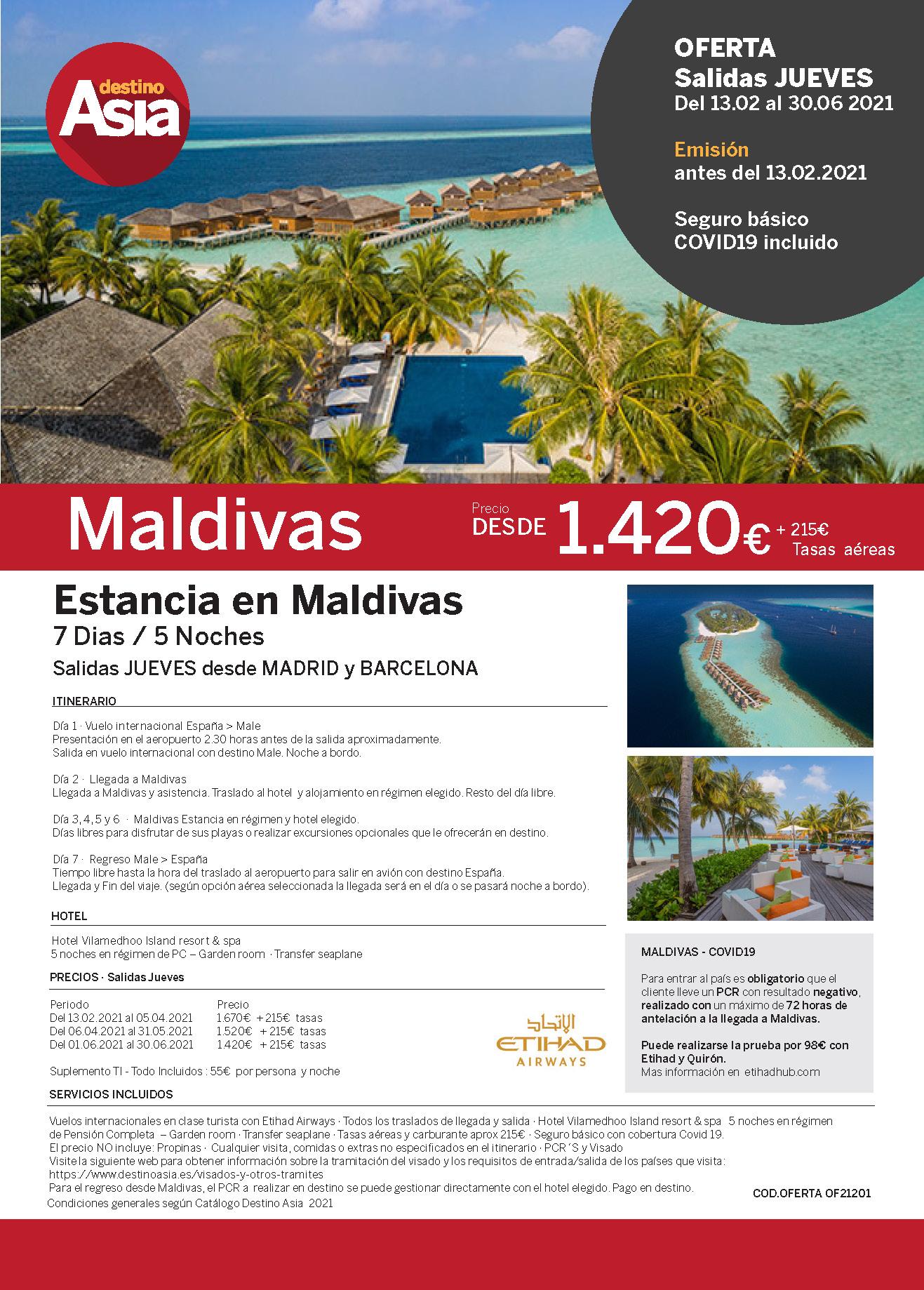 Oferta Ultima Hora Destino Asia Estancia en Maldivas 2021