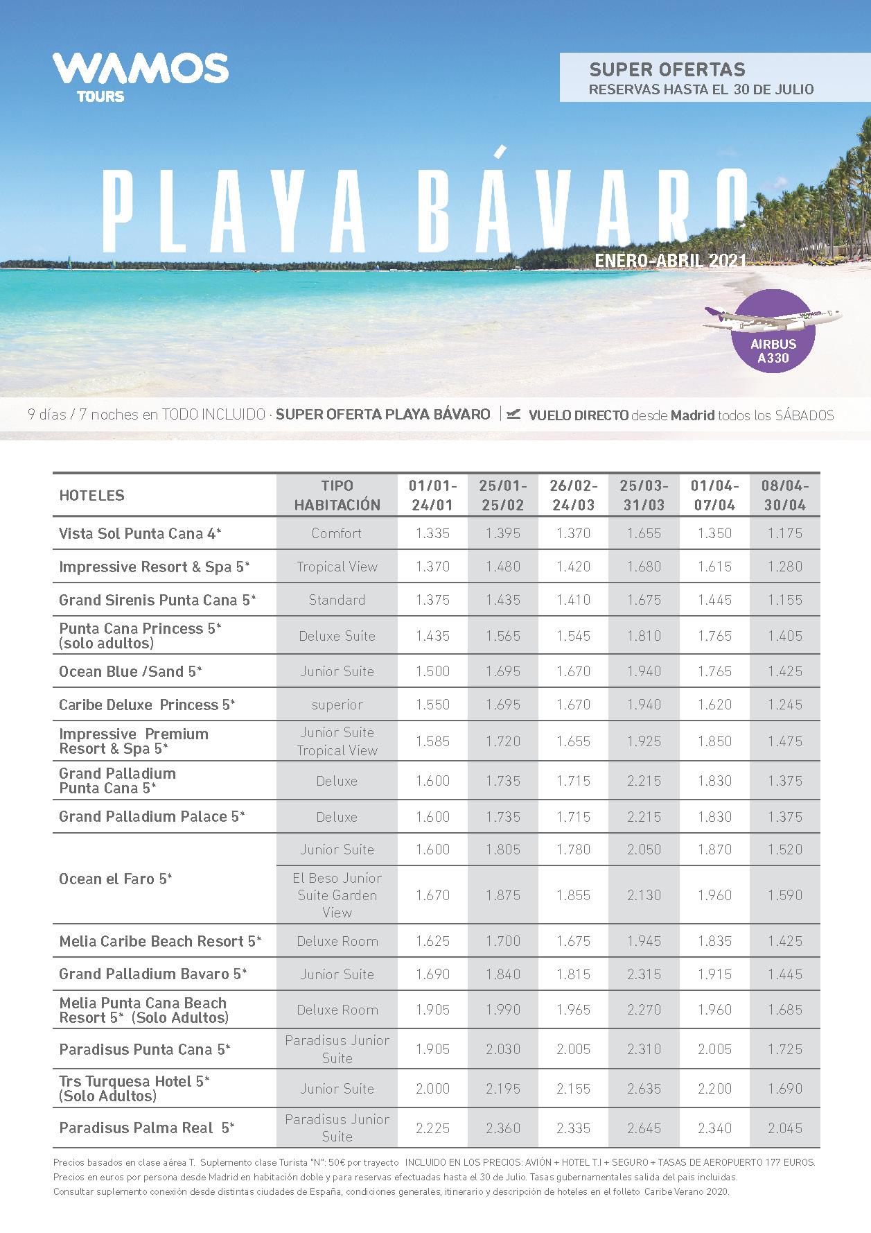 Oferta Wamos Tours Playa Bávaro Todo Incluido Enero a Abril 2021 salidas vuelo directo desde Madrid