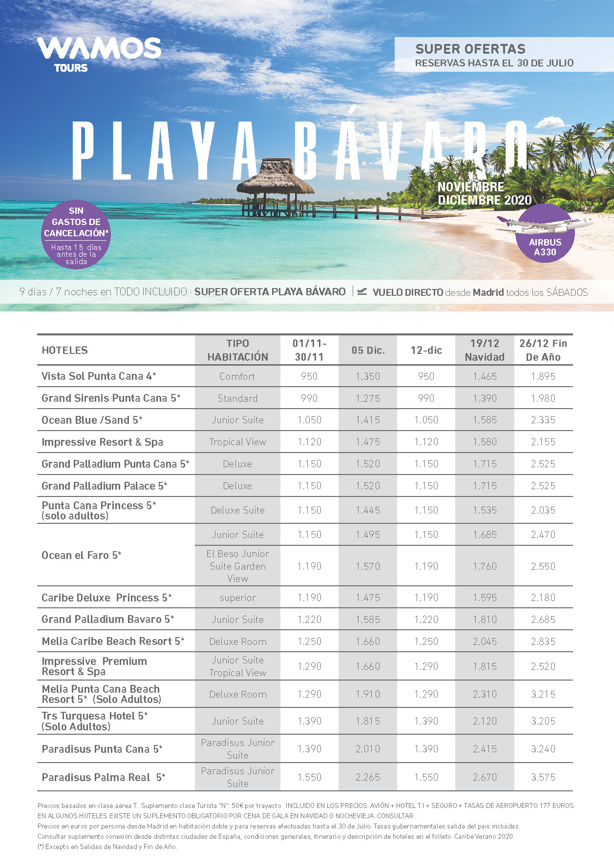 Oferta Wamos Tours Playa Bávaro Todo Incluido Noviembre-Diciembre 2020 salidas vuelo directo desde Madrid