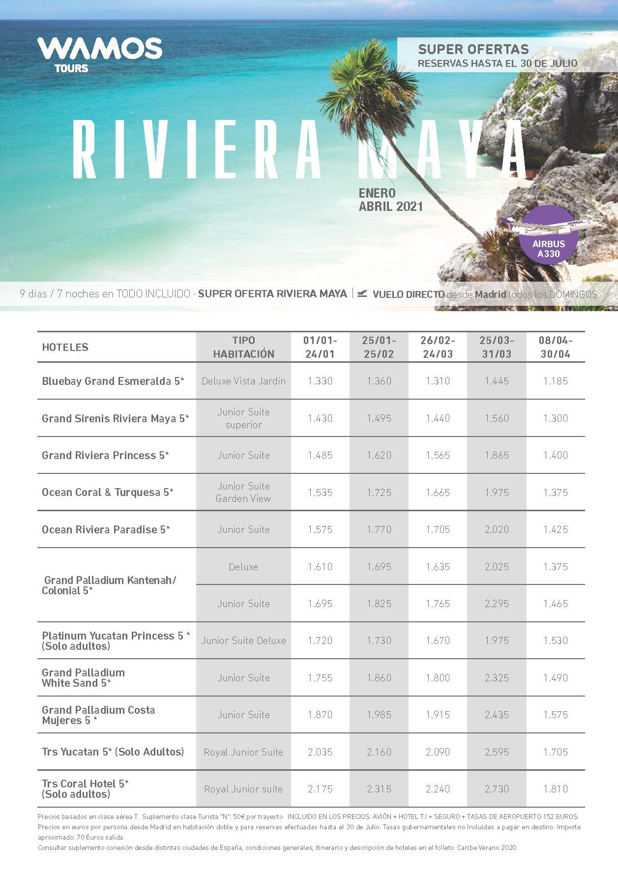 Oferta Wamos Tours Riviera Maya Todo Incluido Enero-Abril 2021 salidas vuelo directos desde Madrid