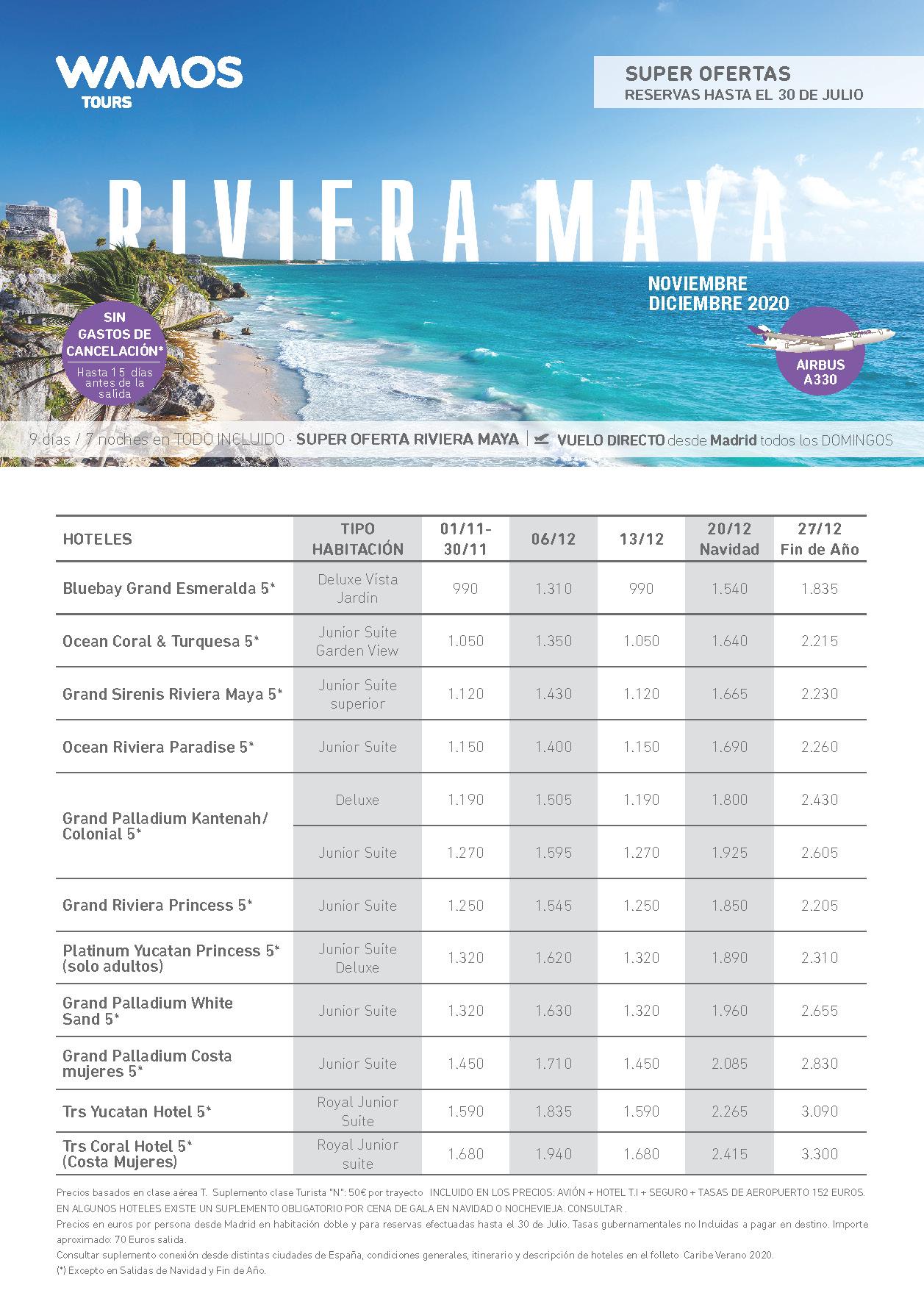Oferta Wamos Tours Riviera Maya Todo Incluido Noviembre-Diciembre 2020 salidas vuelo directo desde Madrid
