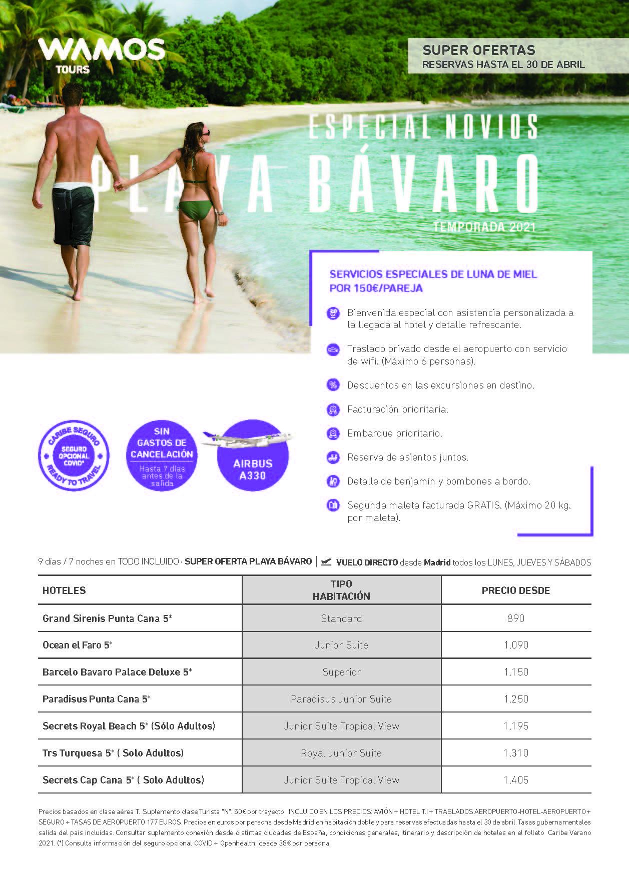 Oferta Wamos Tours Servicios Especiales Novios Punta Cana Verano 2021
