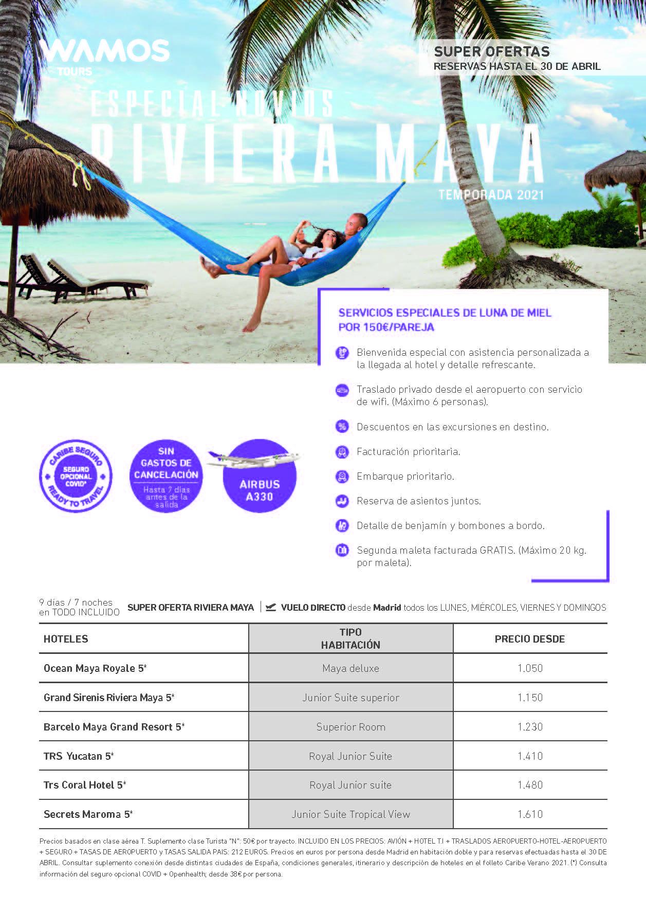 Oferta Wamos Tours Servicios Especiales Novios Riviera Maya Verano 2021