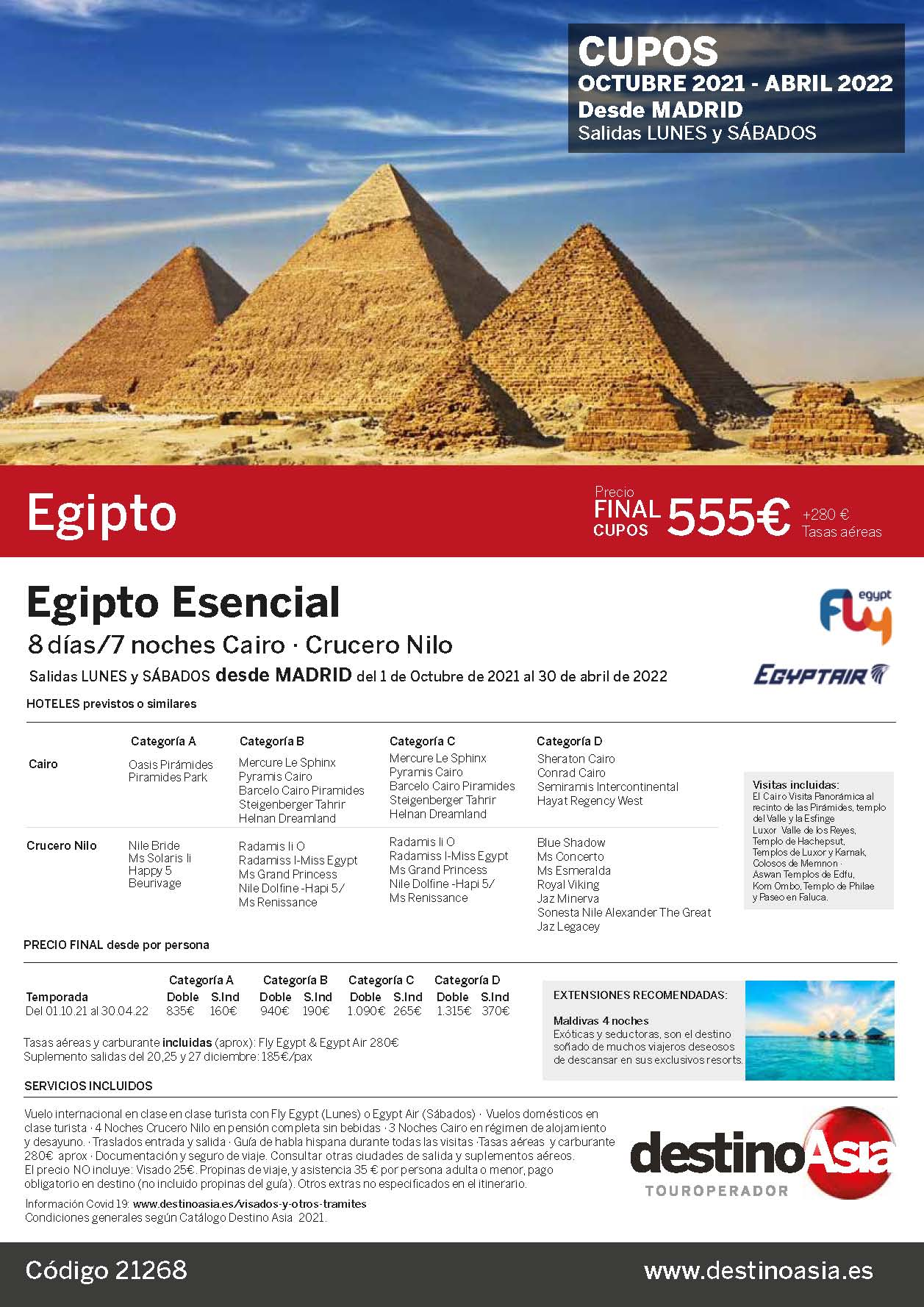 Ofertas Destino Asia Egipto Charter Octubre 2021 a Abril 2022 salidas desde Madrid