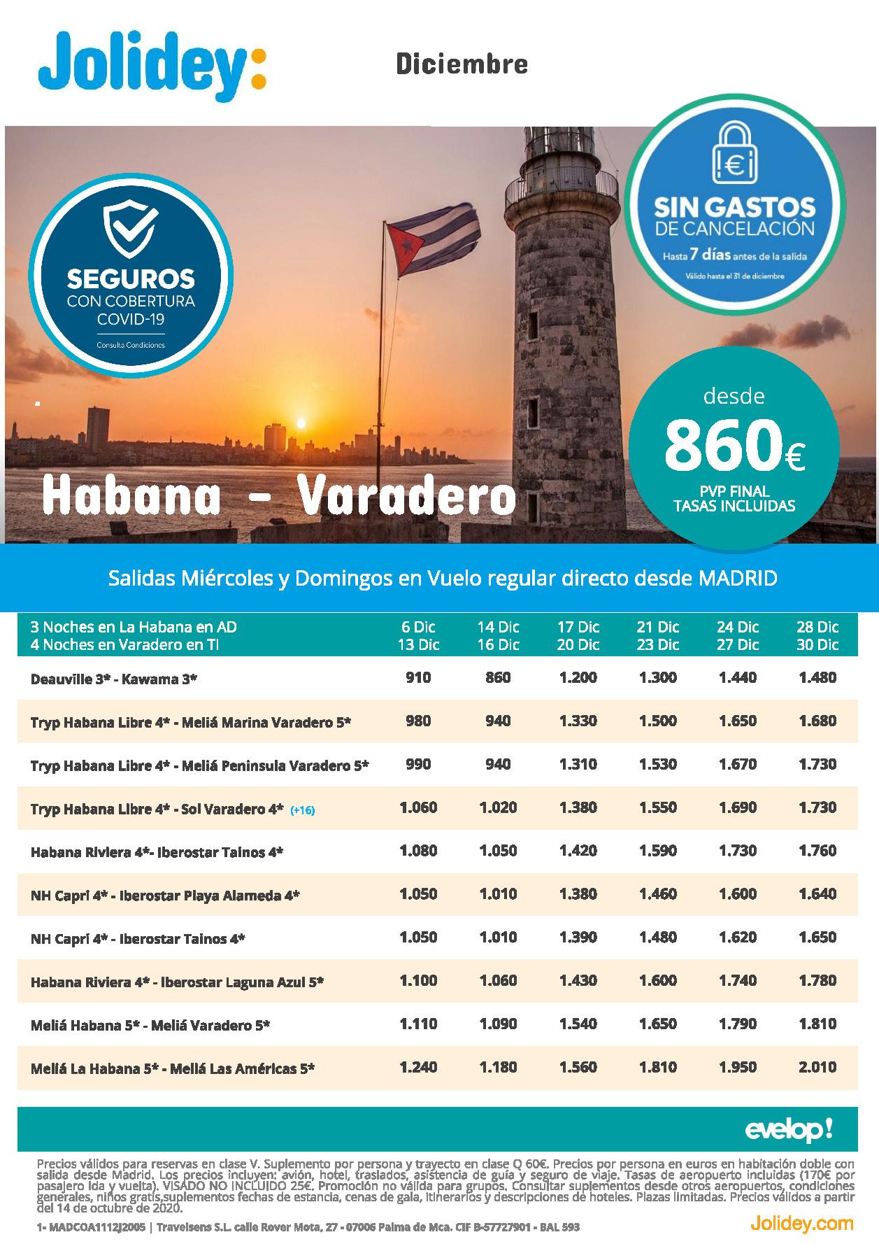 Ofertas Jolidey Combinados La Habana y Varadero Cuba Diciembre 2020 salidas vuelo directo desde Madrid