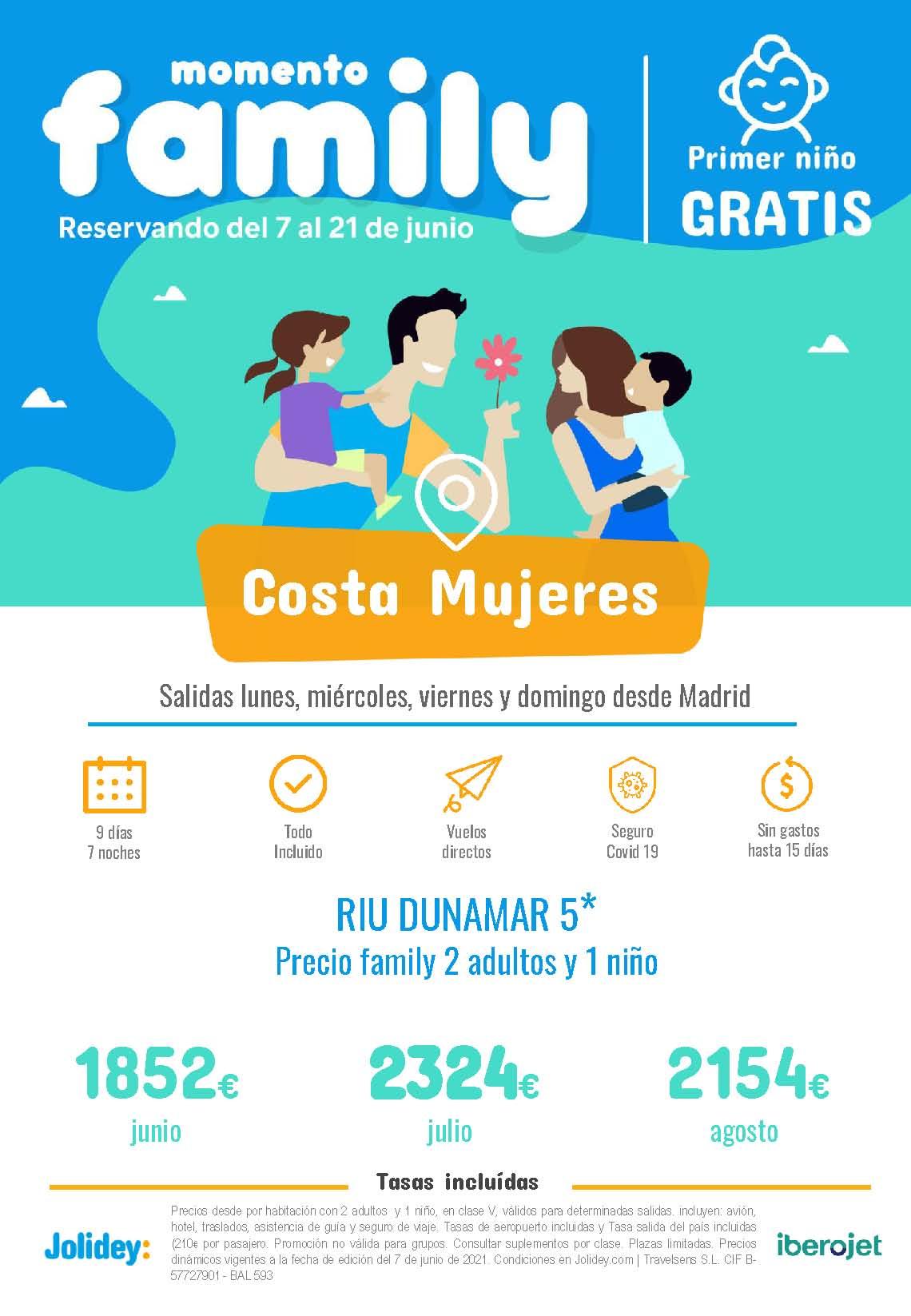 Ofertas Jolidey Familias Costa Mujeres Verano 2021 vuelo directo desde Madrid