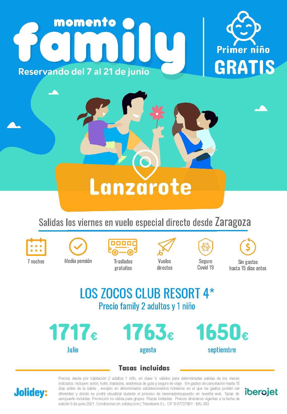 Ofertas Jolidey Familias Niño Gratis Lanzarote Verano 2021 vuelo directo desde Zaragoza