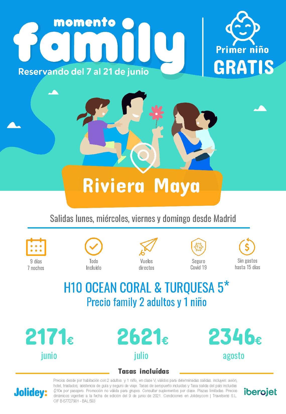 Ofertas Jolidey Familias Niño Gratis Riviera Maya Verano 2021 vuelo directo desde Madrid