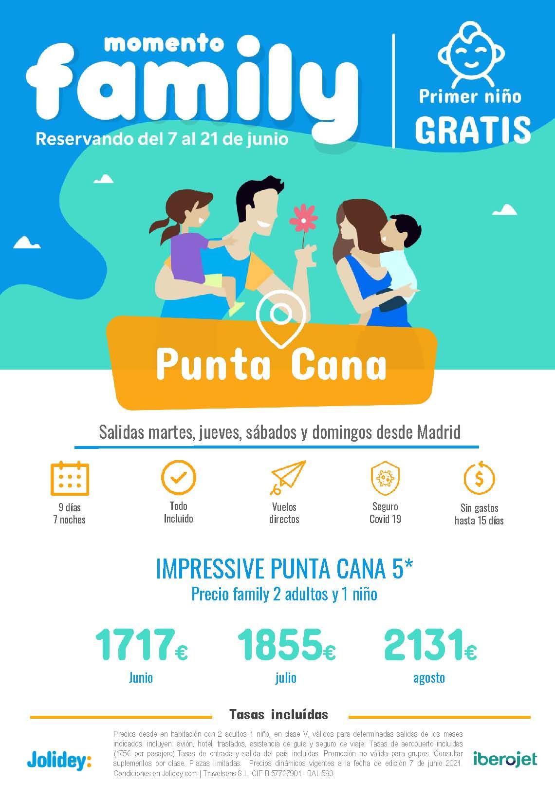 Ofertas Jolidey Familias Punta Cana Verano 2021 vuelo directo desde Madrid