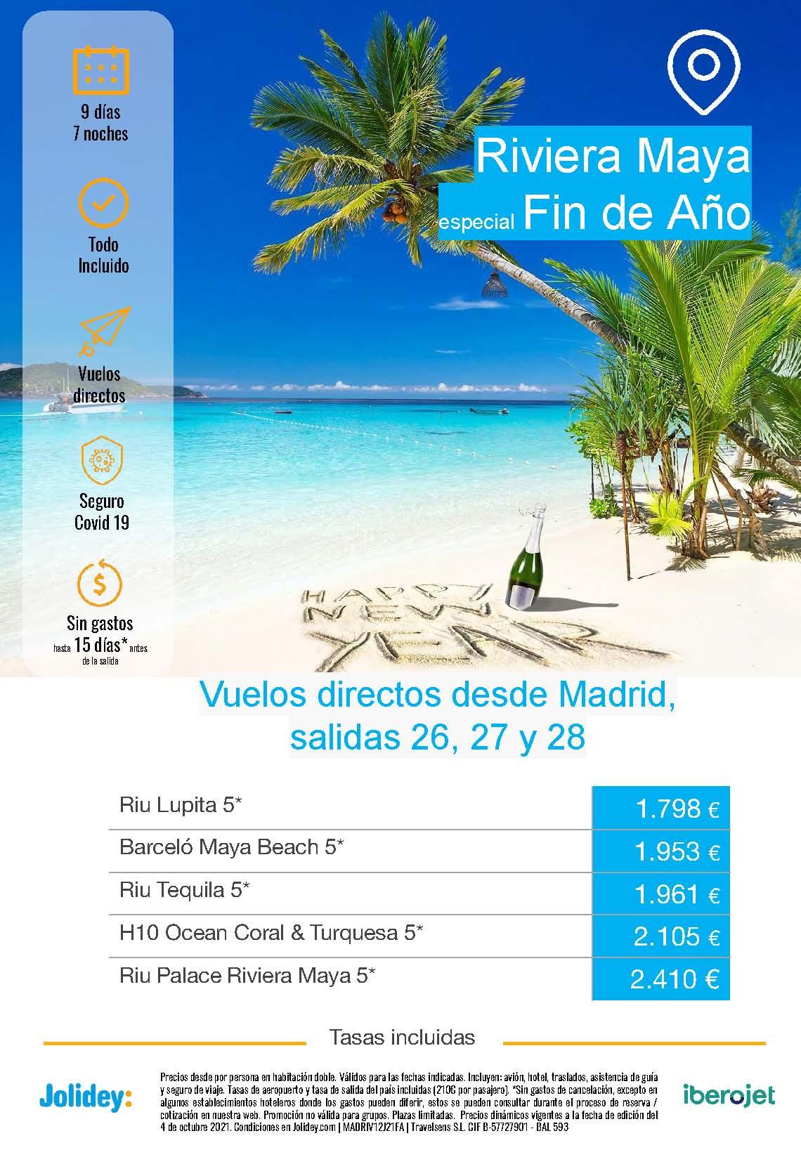 Ofertas Jolidey Fin de Ano 2021 en Riviera Maya Mexico salida en vuelo directo desde Madrid