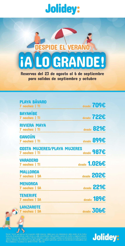 Ofertas Jolidey Fin de Temporada Septiembre y Octubre 2021 Caribe Baleares y Canarias