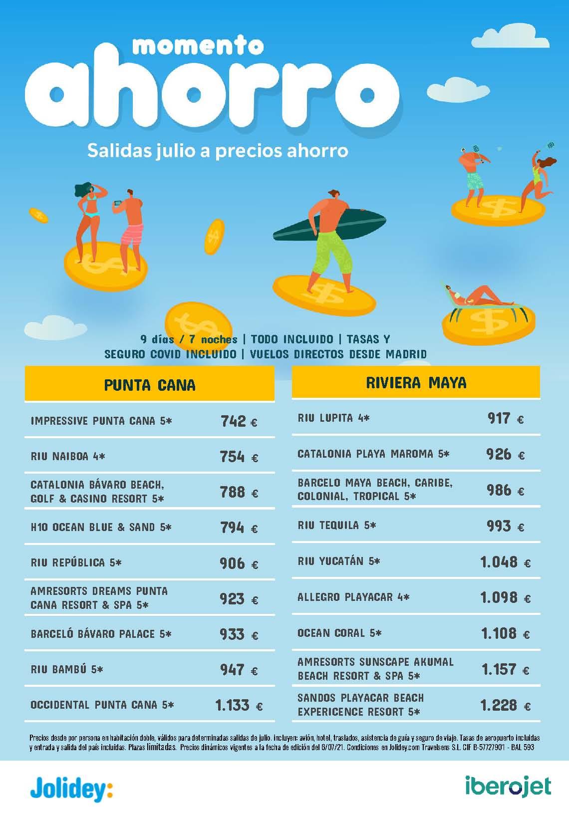 Ofertas Jolidey Julio 2021 ahorro Punta Cana vuelo directo desde Madrid