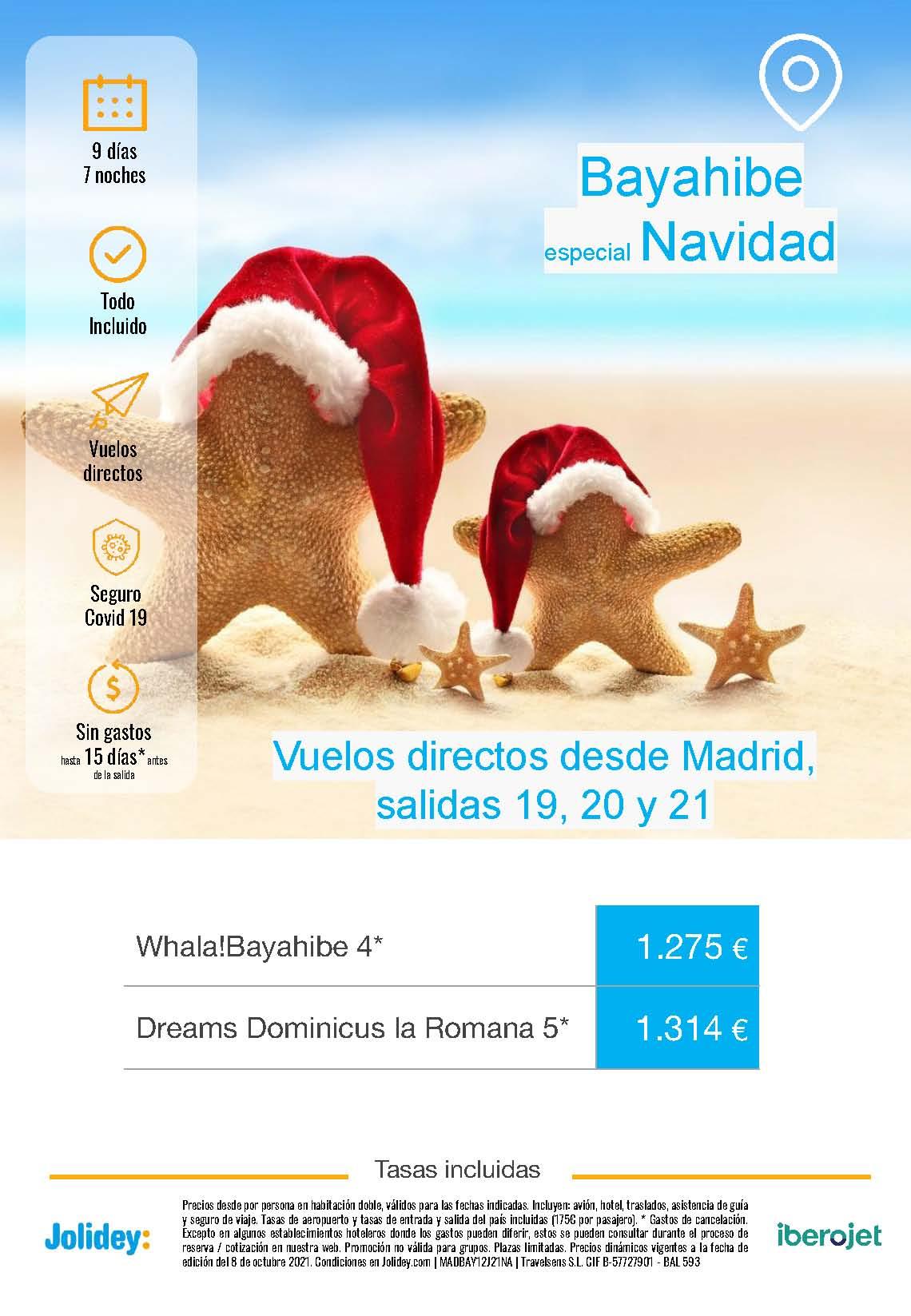 Ofertas Jolidey Navidad 2021 en Bayahibe Republica Dominicana salida en vuelo directo desde Madrid