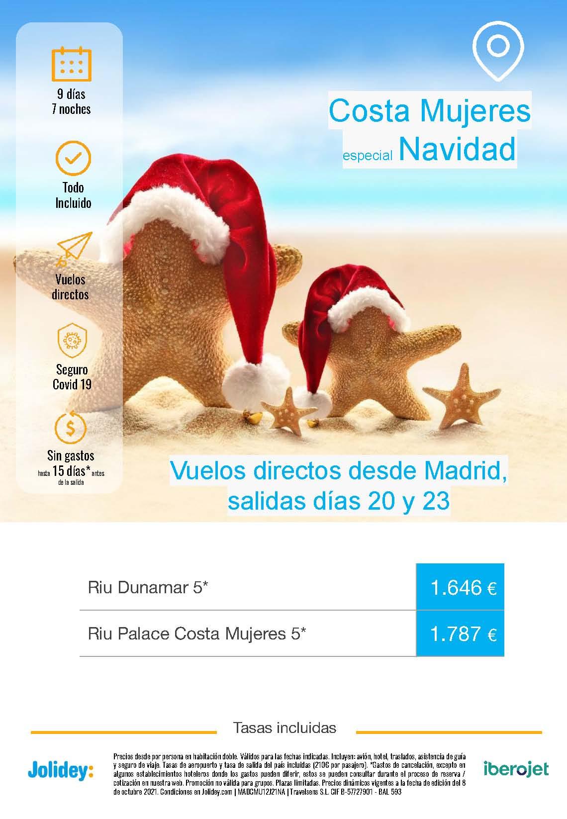 Ofertas Jolidey Navidad 2021 en Costa Mujeres Mexico salida en vuelo directo desde Madrid