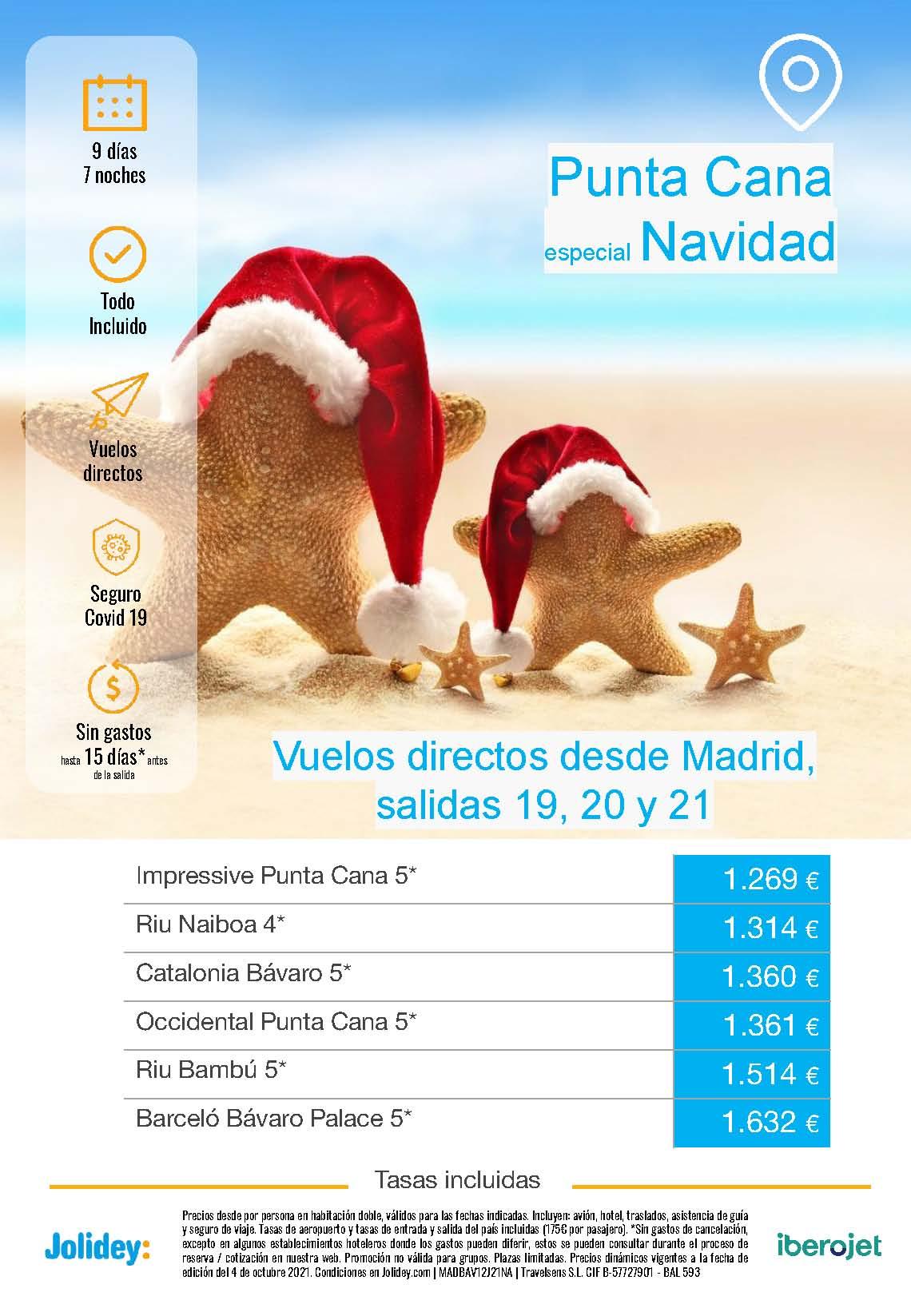 Ofertas Jolidey Navidad 2021 en Punta Cana Republica Dominicana salida en vuelo directo desde Madrid