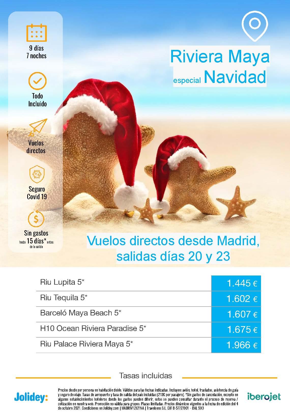 Ofertas Jolidey Navidad 2021 en Riviera Maya Mexico salida en vuelo directo desde Madrid