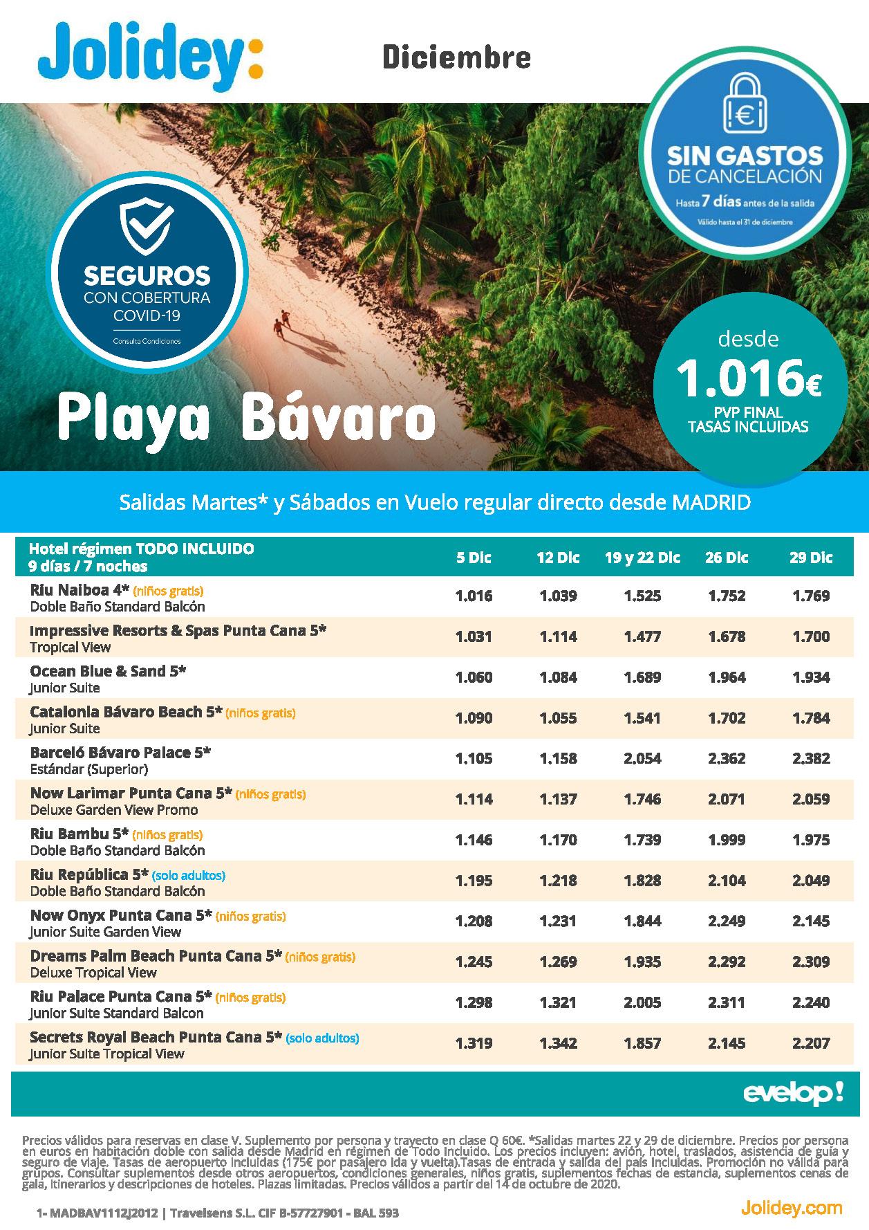 Ofertas Jolidey Playa Bavaro Republica Dominicana Diciembre 2020 salidas vuelo directo desde Madrid