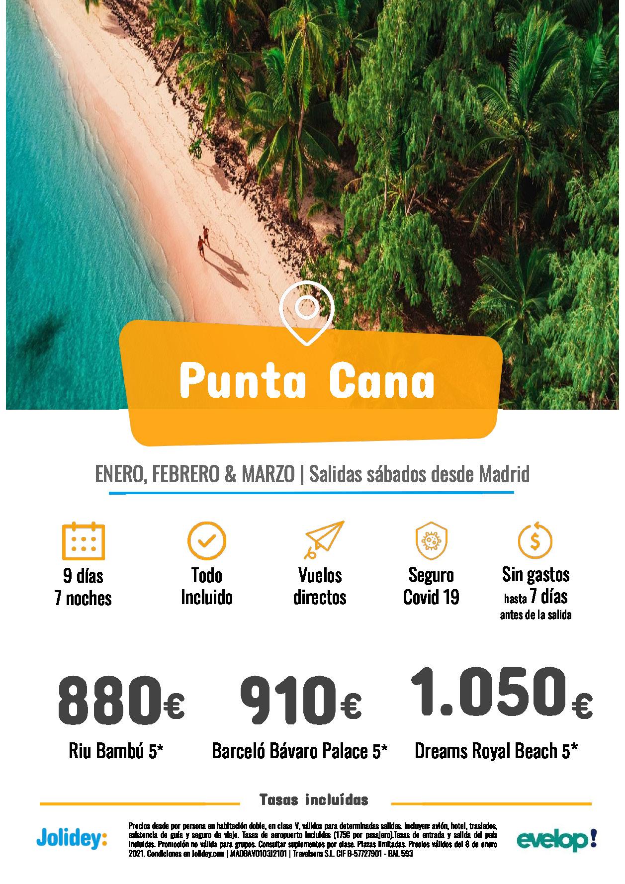 Ofertas Jolidey Punta Cana Enero a Marzo 2021 Riu Barcelo Dreams vuelo directo desde Madrid