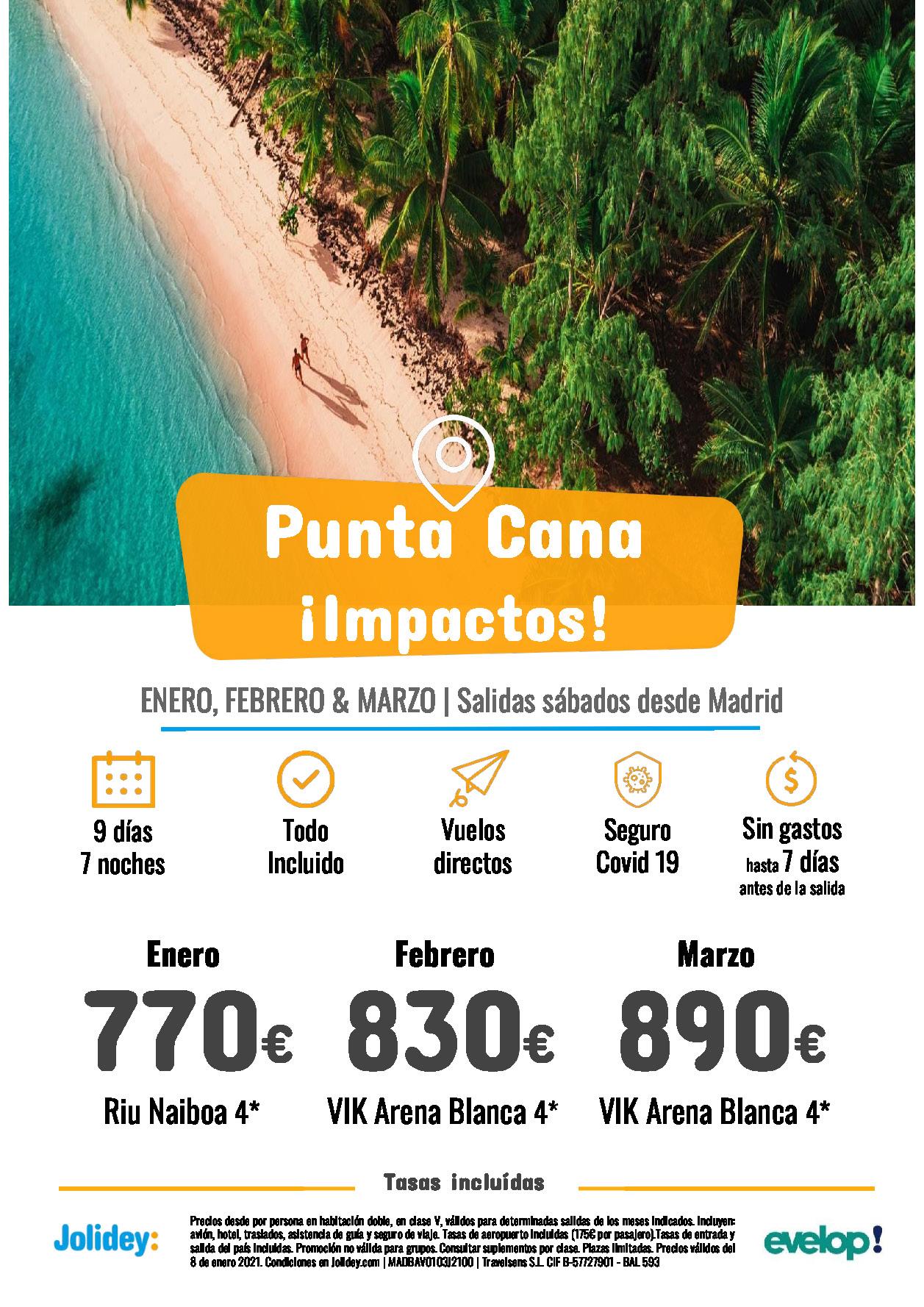 Ofertas Jolidey Punta Cana Enero a Marzo 2021 Riu Naiboa Vik vuelo directo desde Madrid