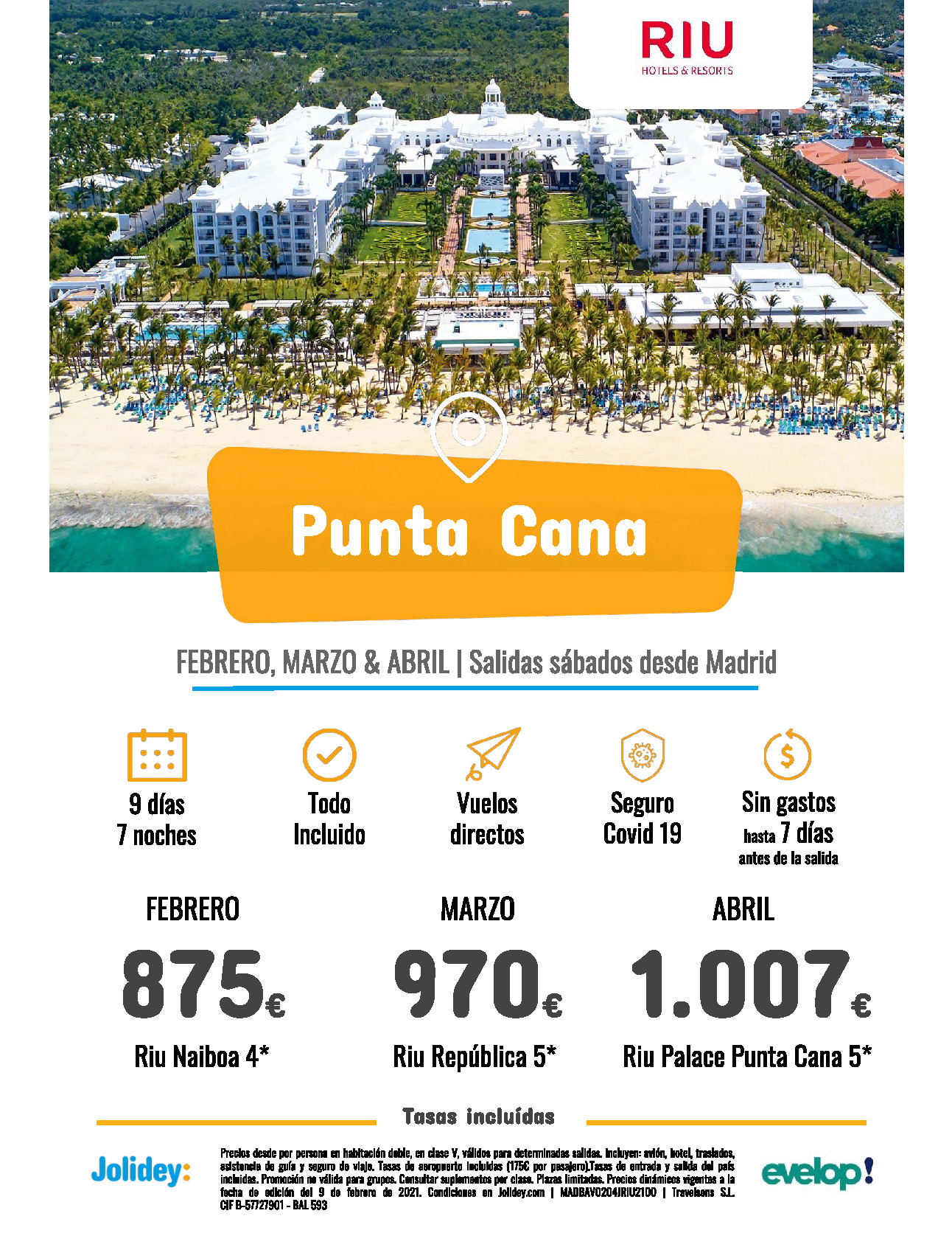 Ofertas Jolidey Punta Cana Febrero a Abril 2021 hoteles Riu vuelo directo desde Madrid