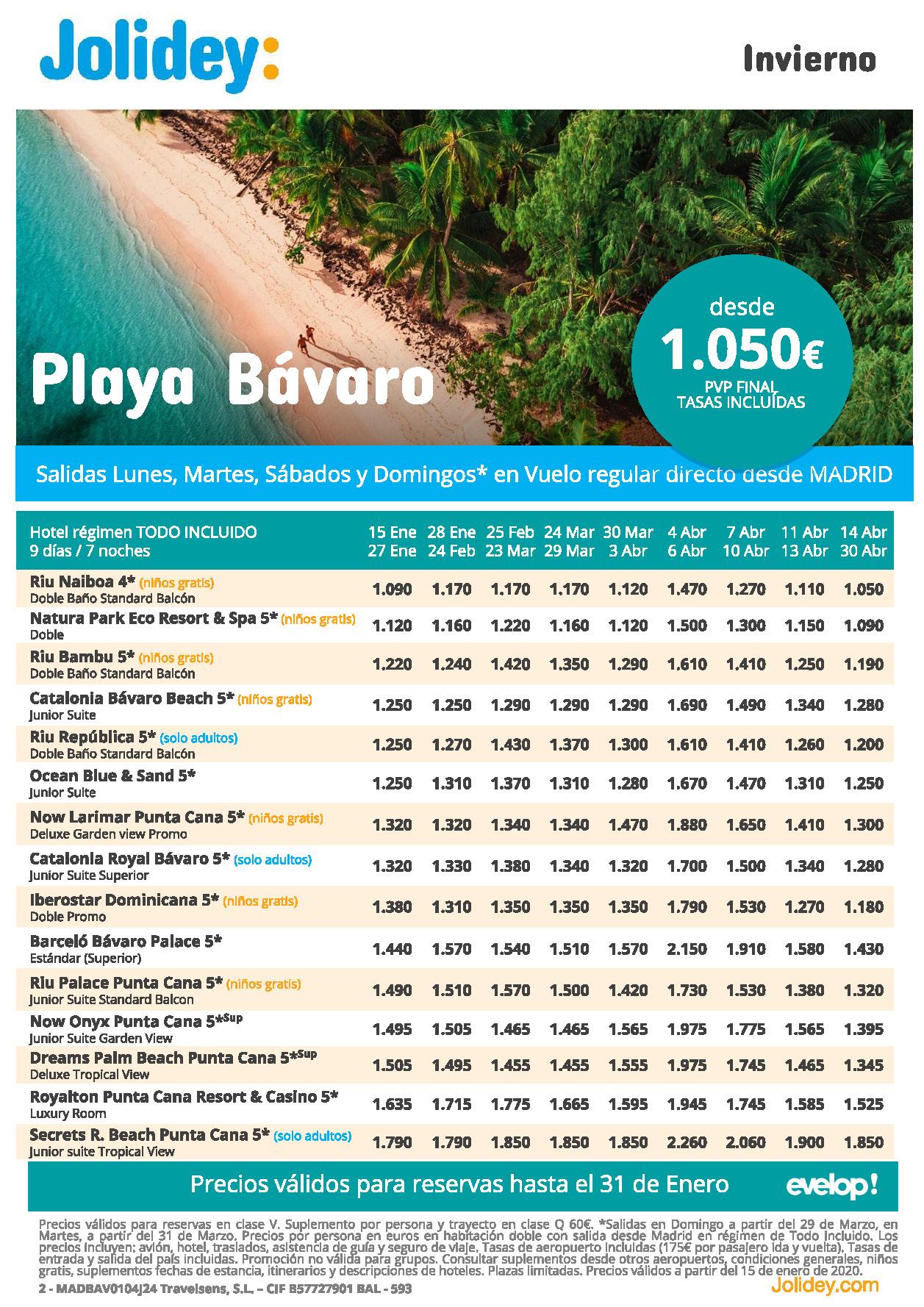 Ofertas Jolidey Punta Cana Invierno 2020