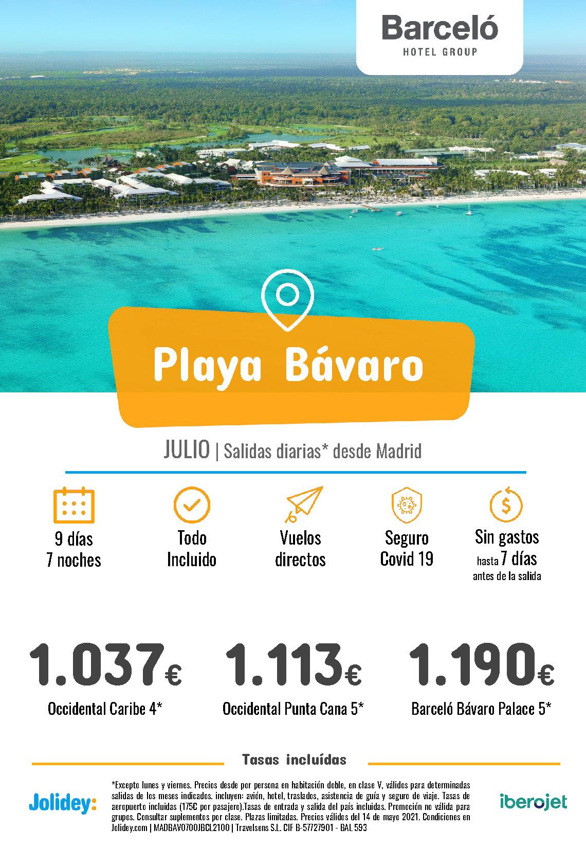 Ofertas Jolidey Punta Cana Plana Bavaro Barcelo Julio 2021 vuelo directo desde Madrid