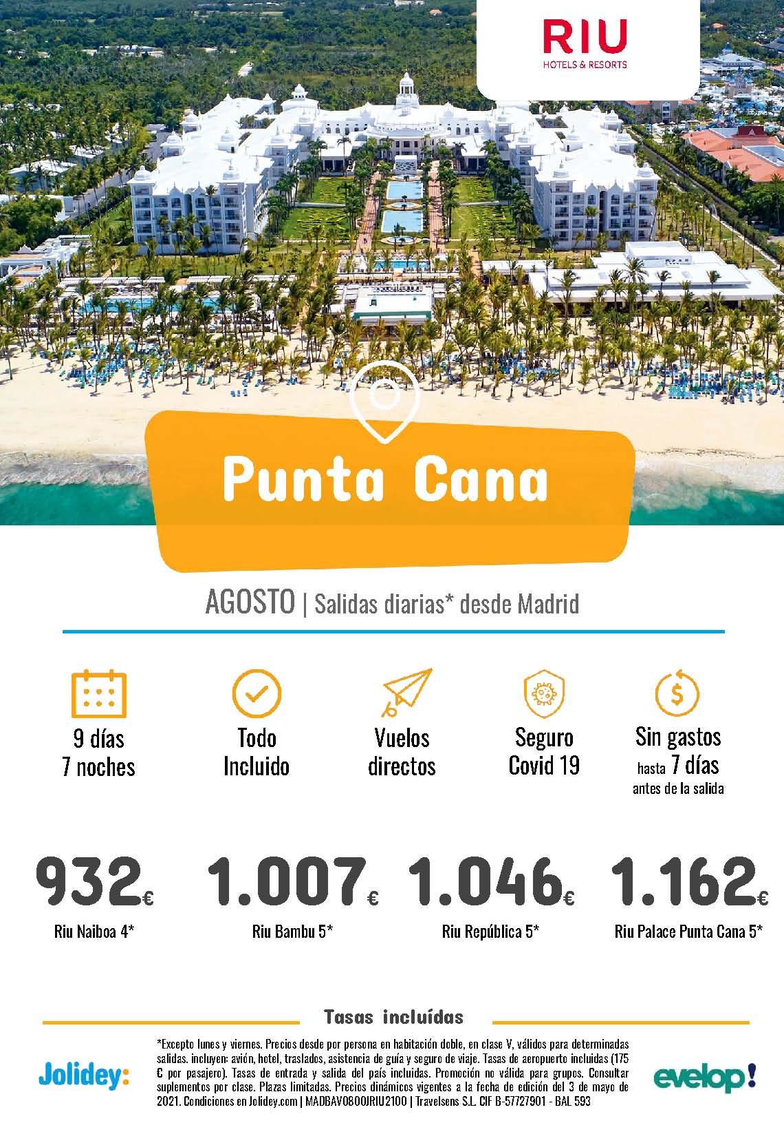 Ofertas Jolidey Punta Cana en Hoteles Riu Agosto 2021 vuelo directo desde Madrid