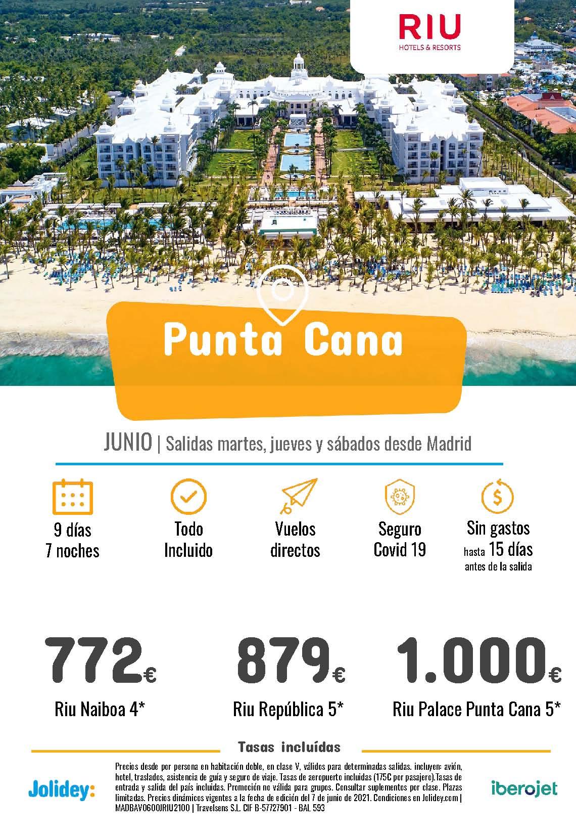 Ofertas Jolidey Punta Cana en Hoteles Riu Junio 2021 vuelo directo desde Madrid