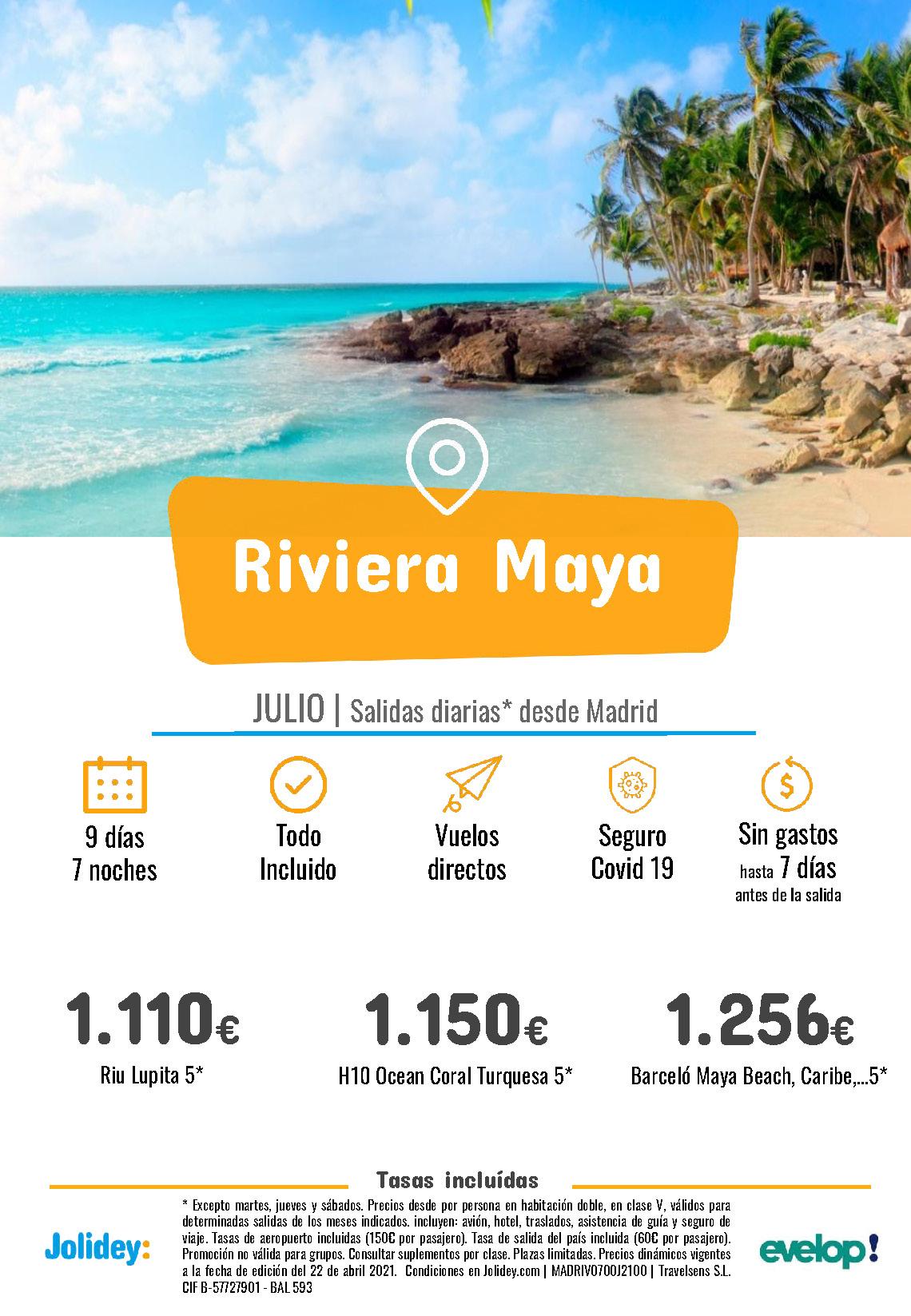 Ofertas Jolidey Riviera Maya Julio 2021 vuelo directo desde Madrid
