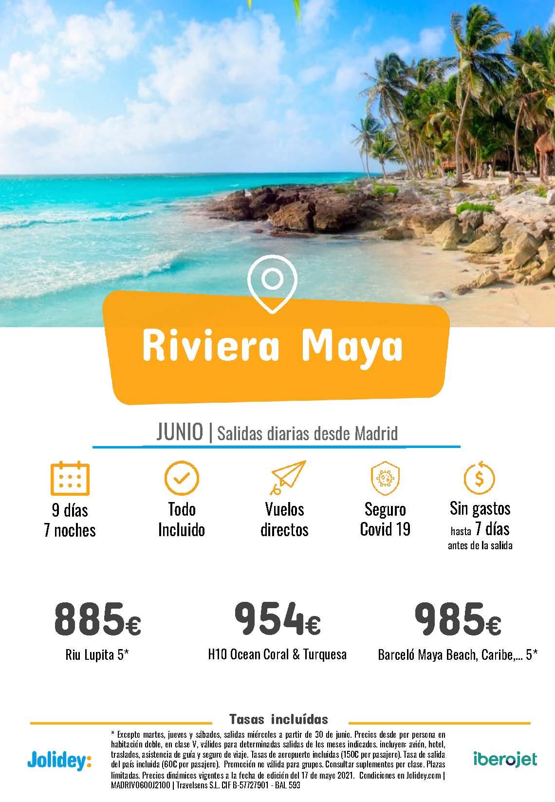 Ofertas Jolidey Riviera Maya Junio 2021 vuelo directo desde Madrid