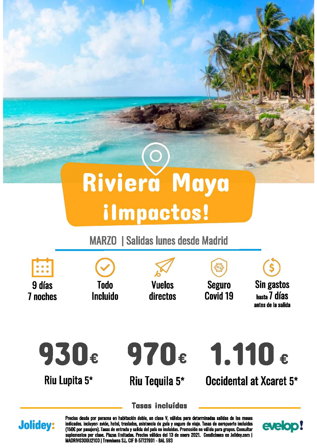 Ofertas Jolidey Riviera Maya Marzo 2021 Riu Occidental vuelo directo desde Madrid