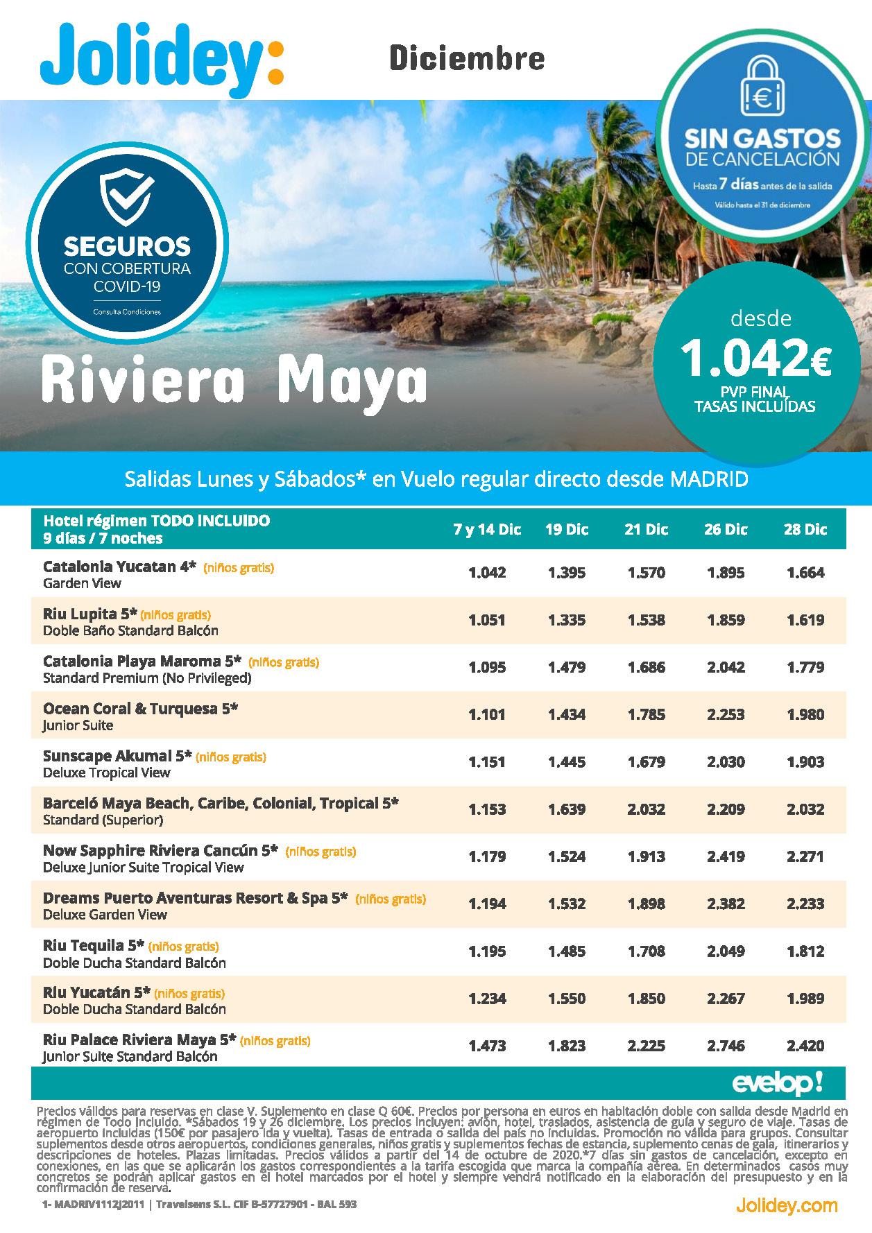 Ofertas Jolidey Riviera Maya Mexico Diciembre 2020 salidas vuelo directo desde Madrid