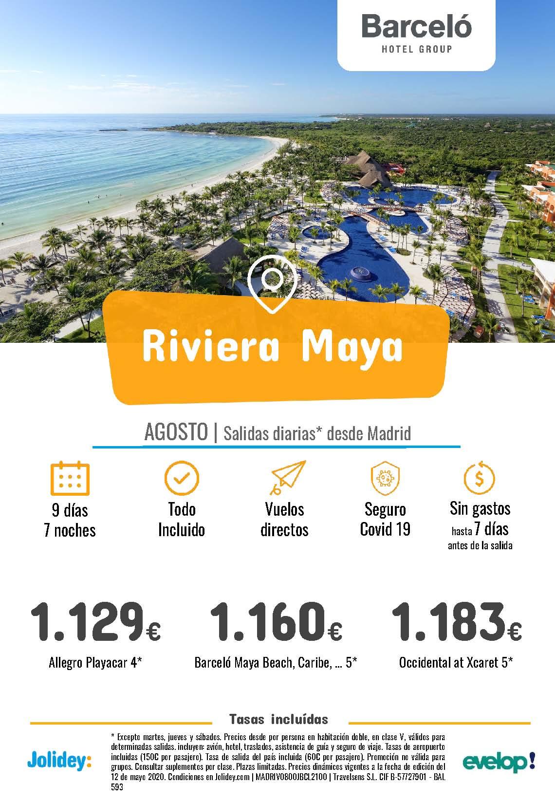 Ofertas Jolidey Riviera Maya en Hoteles Barcelo Agosto 2021 vuelo directo desde Madrid