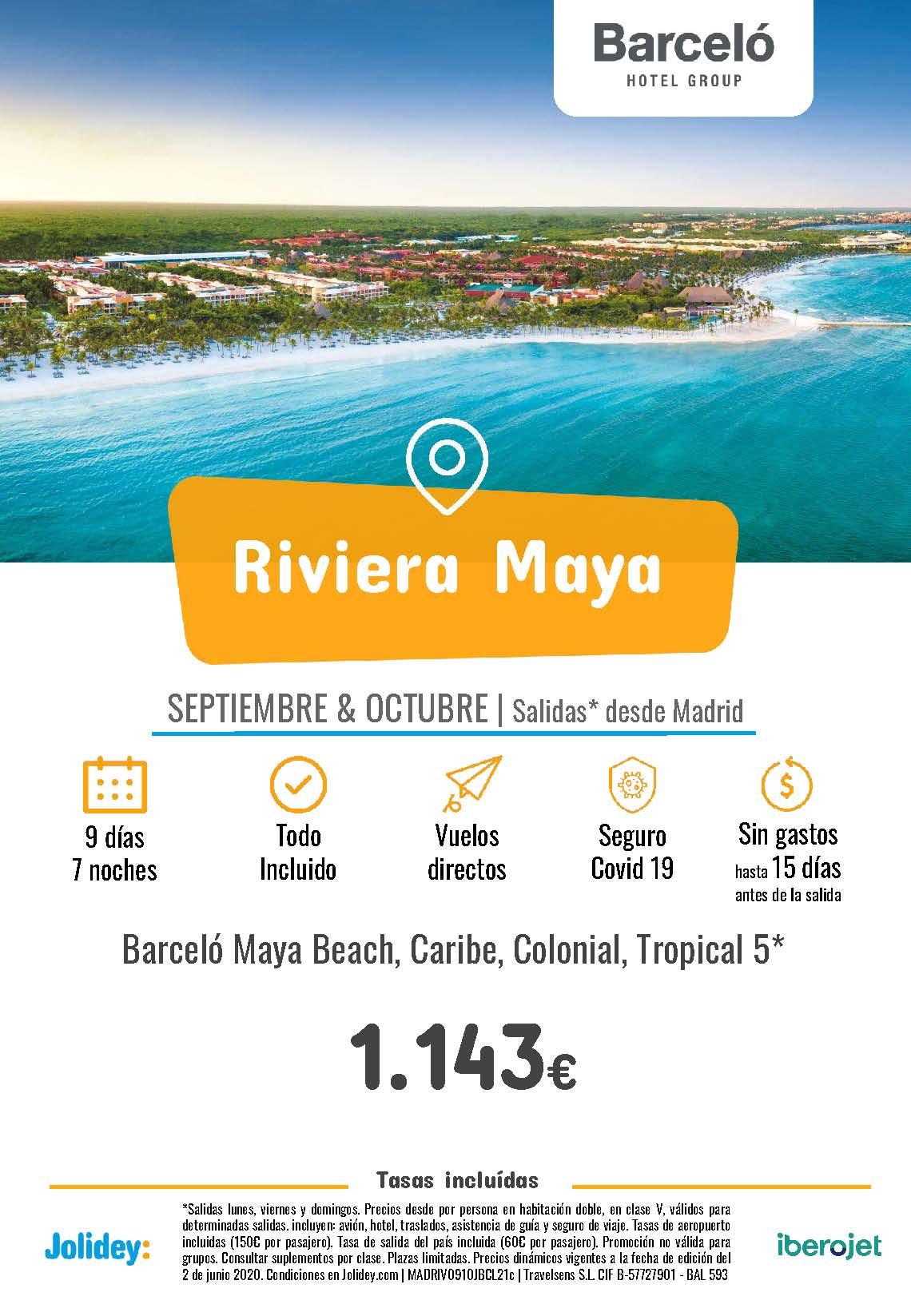 Ofertas Jolidey Riviera Maya en Hoteles Barcelo Septiembre Octubre 2021 vuelo directo desde Madrid