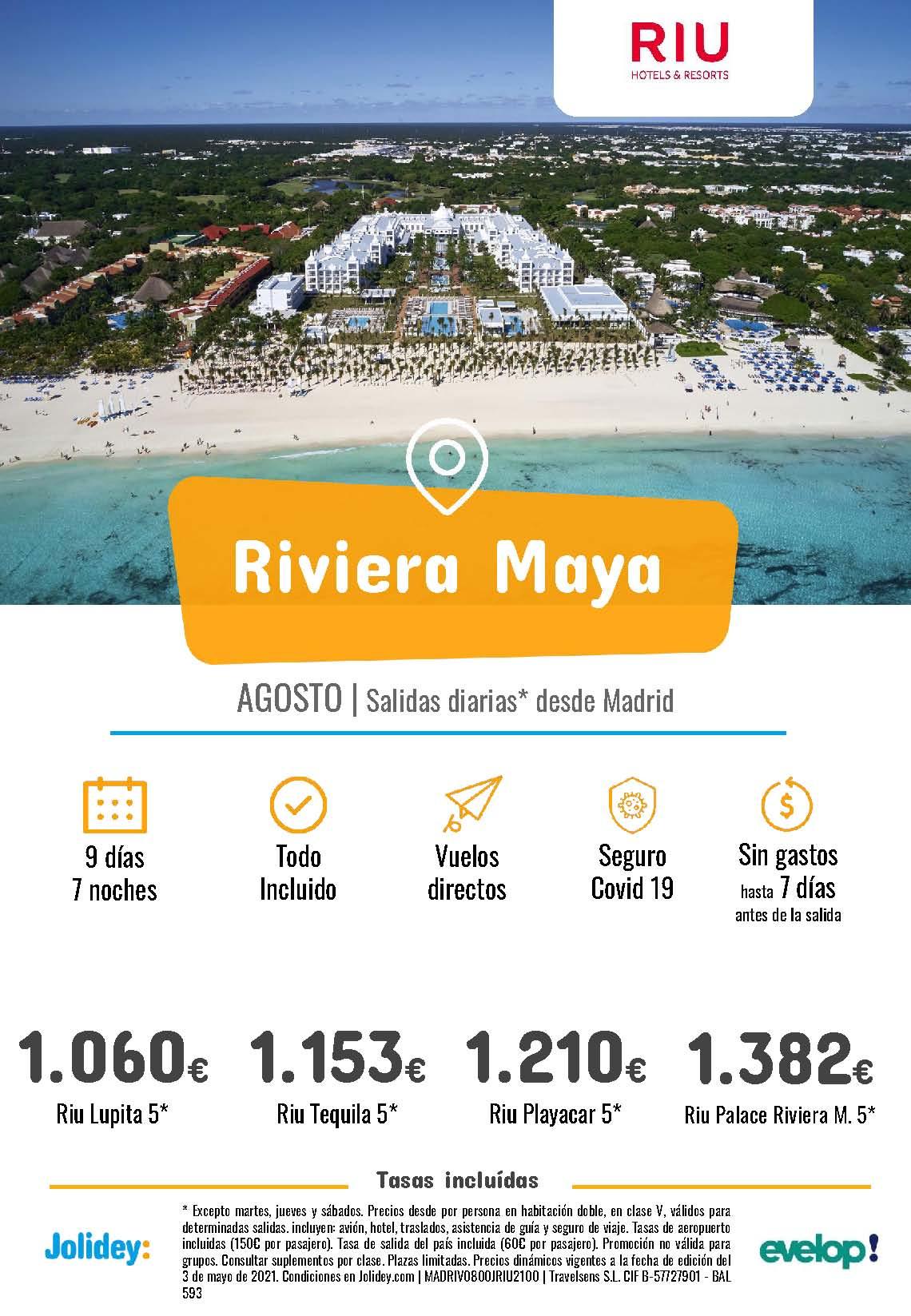 Ofertas Jolidey Riviera Maya en Hoteles Riu Agosto 2021 vuelo directo desde Madrid