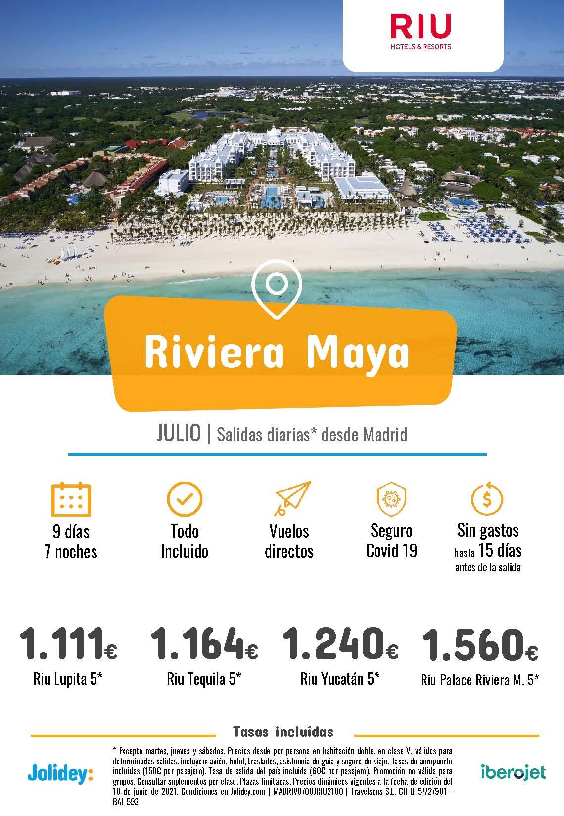 Ofertas Jolidey Riviera Maya en Hoteles Riu Julio 2021 vuelo directo desde Madrid