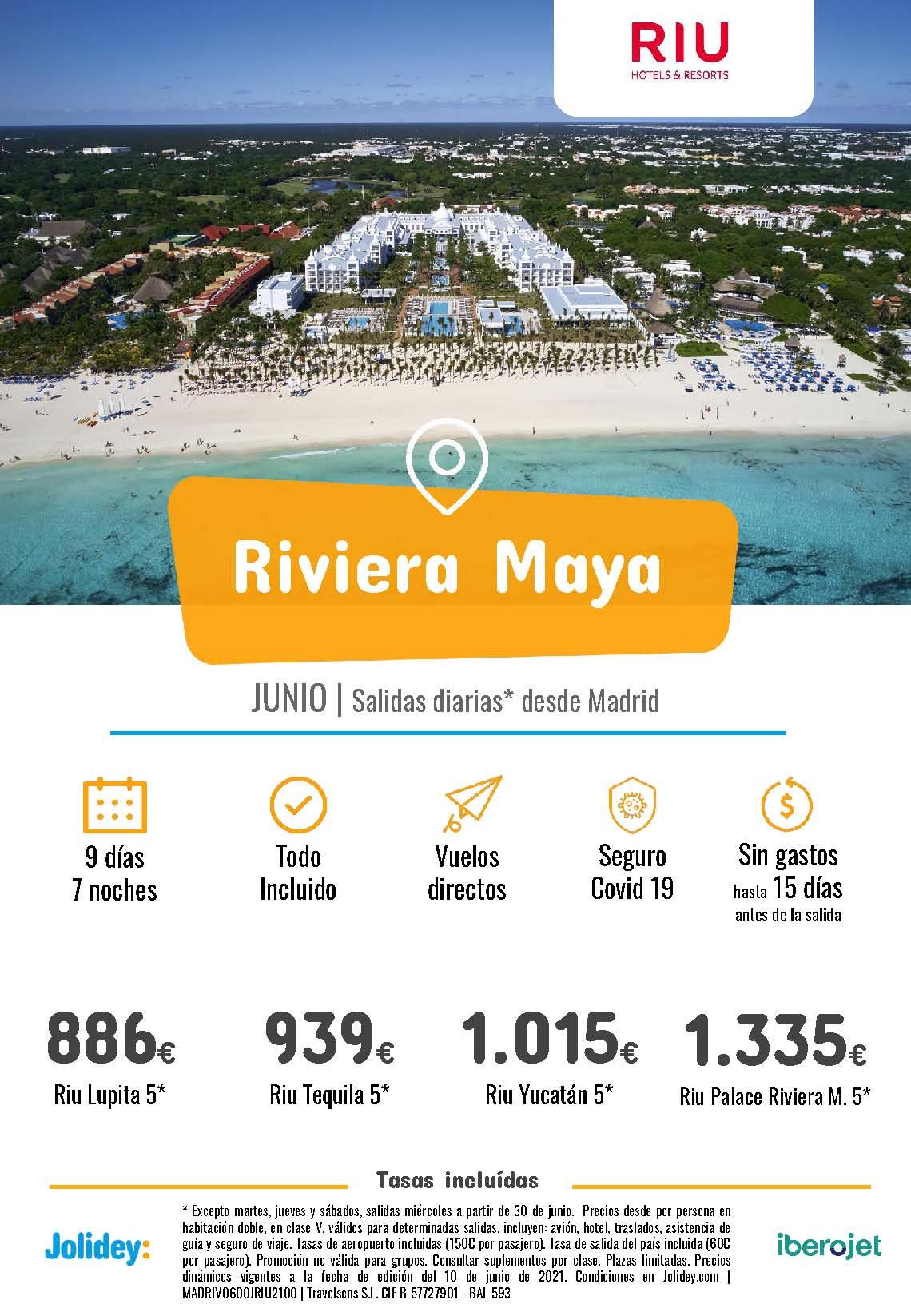 Ofertas Jolidey Riviera Maya en Hoteles Riu Junio 2021 vuelo directo desde Madrid