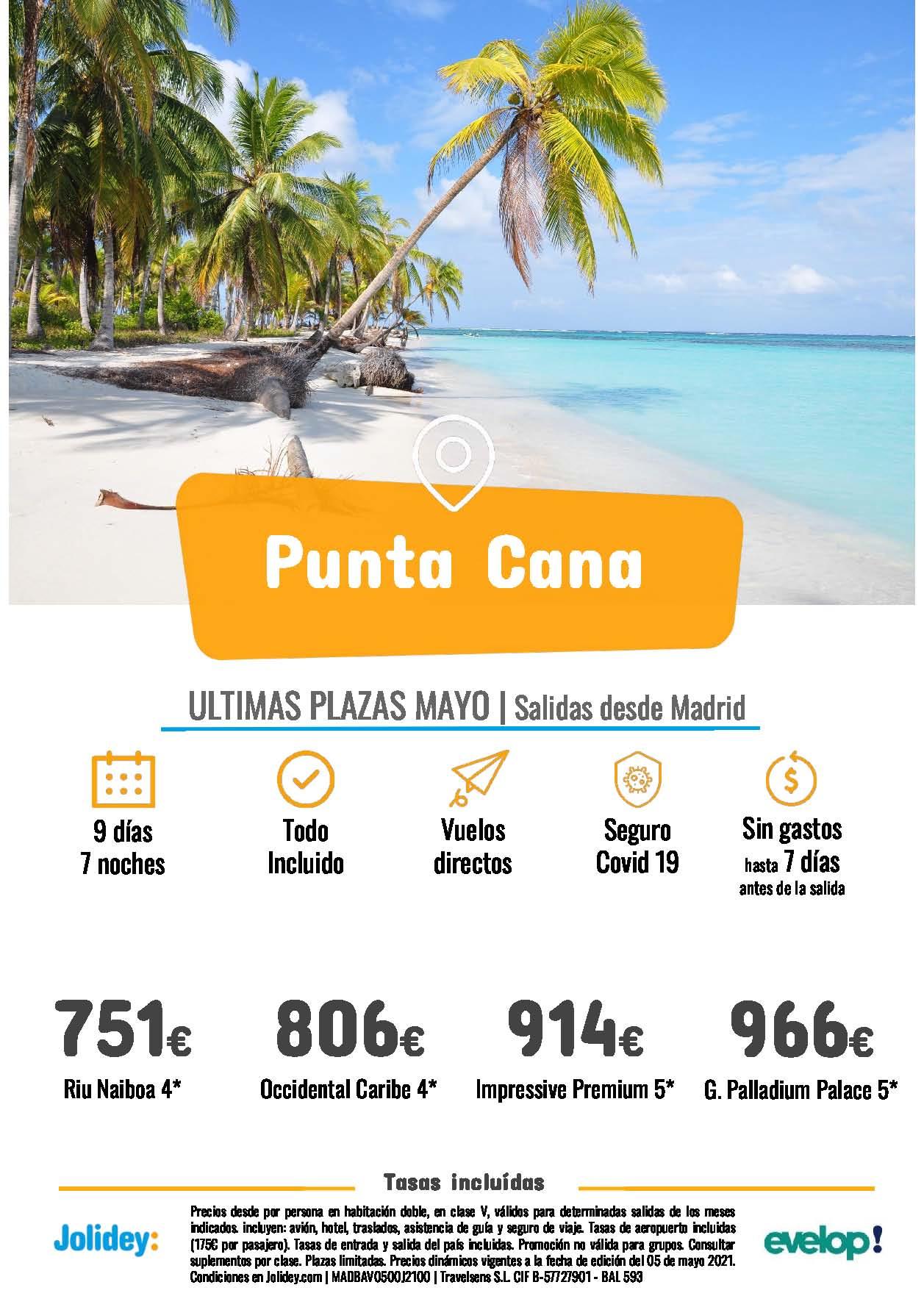 Ofertas Jolidey Ultima Hora Punta Cana Mayo 2021 vuelo directo desde Madrid