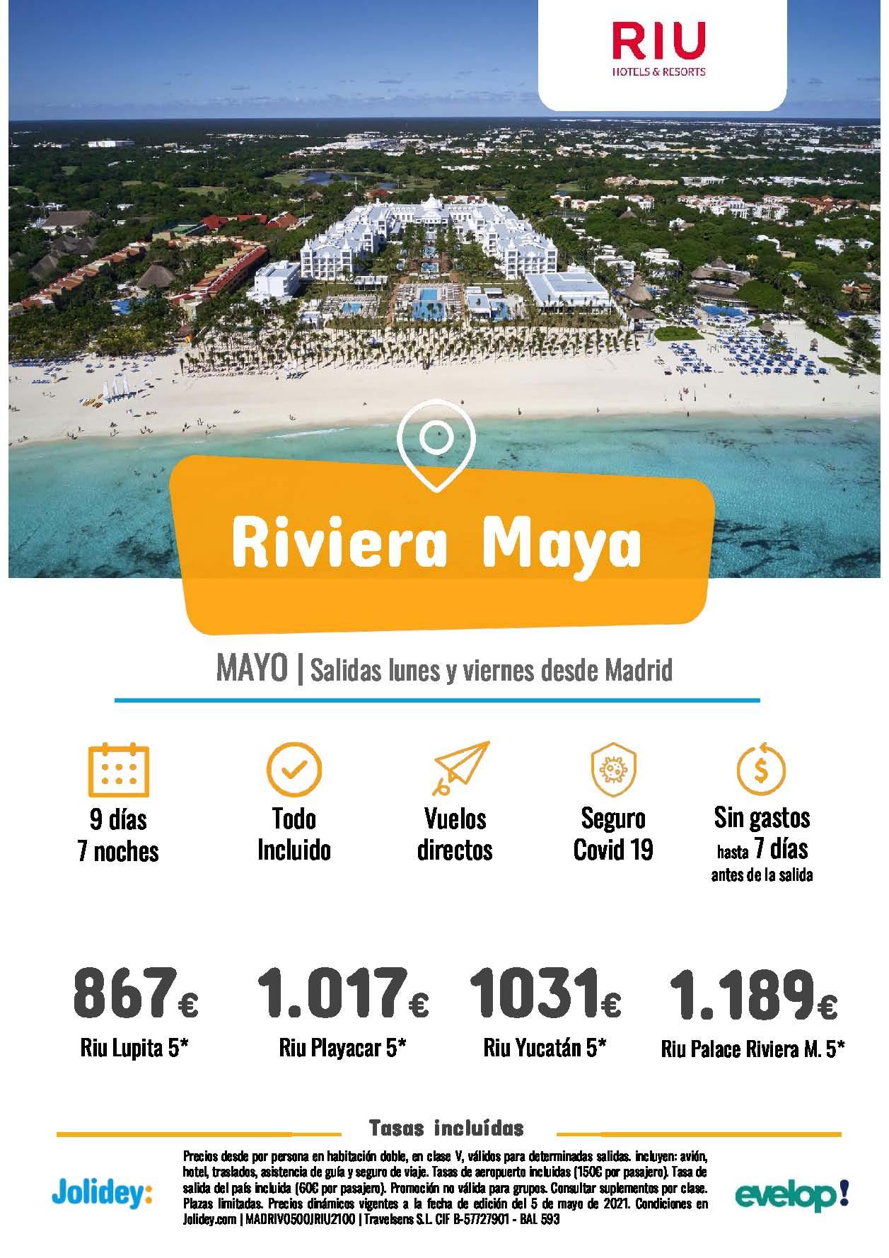 Ofertas Jolidey Ultima Hora Riviera Maya en Hoteles Riu Mayo 2021 vuelo directo desde Madrid