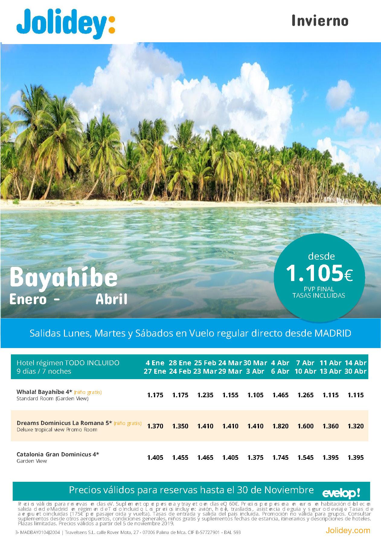 Ofertas Jolidey Vacaciones en Bayahibe Enero a Abril 2020