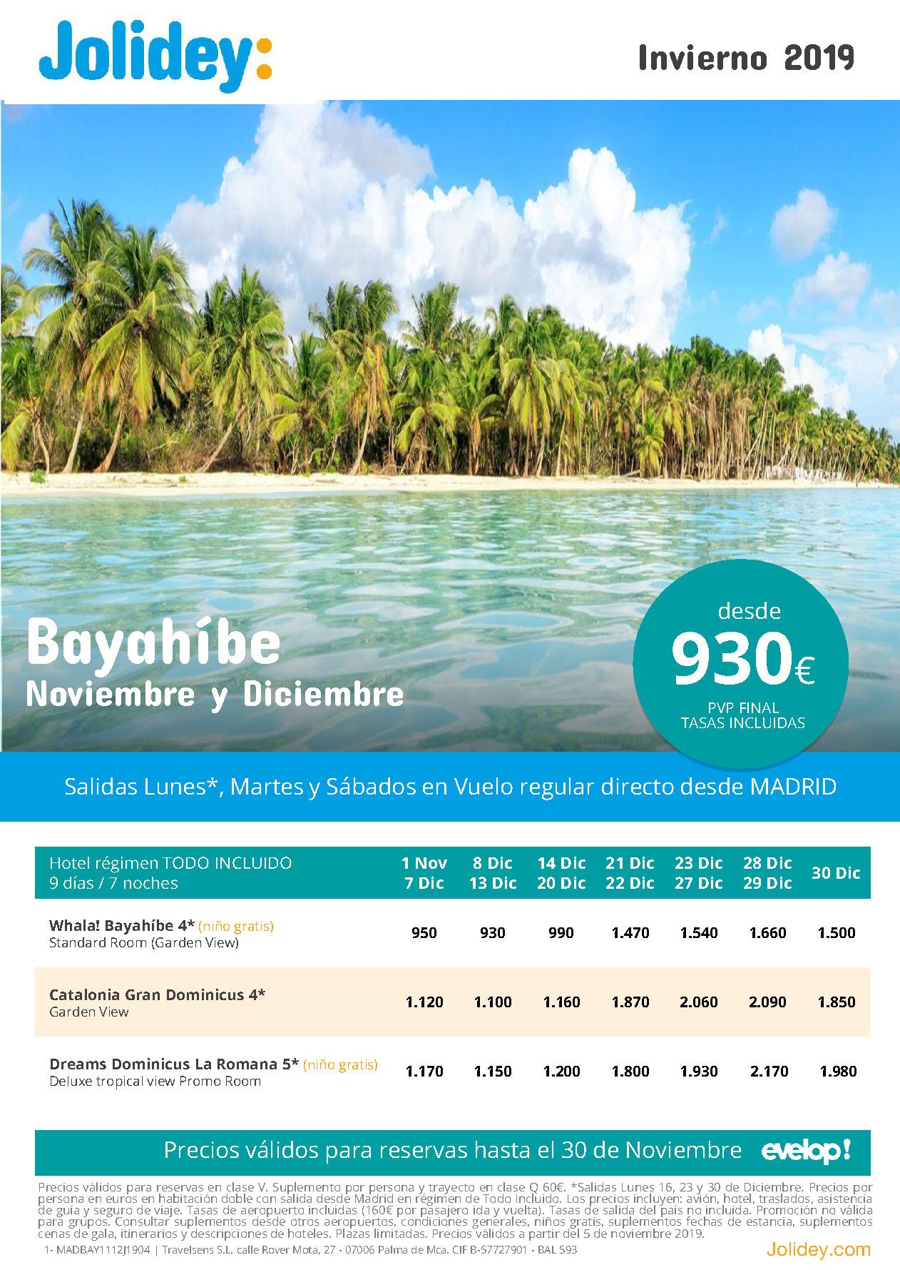 Ofertas Jolidey Vacaciones en Bayahibe Noviembre Diciembre 2019